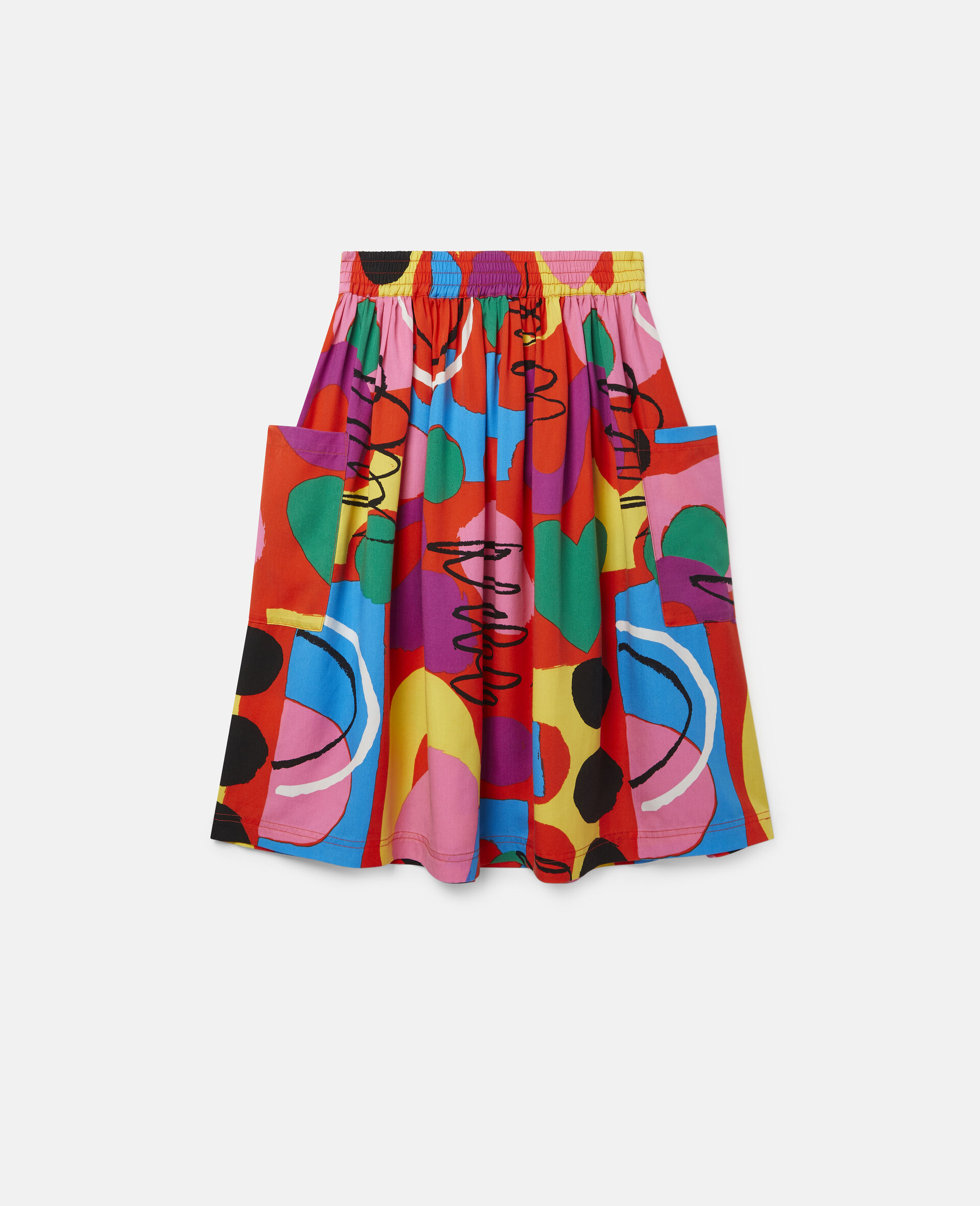 Painting Tencel Twill Skirt-Multicolour-large image number 3