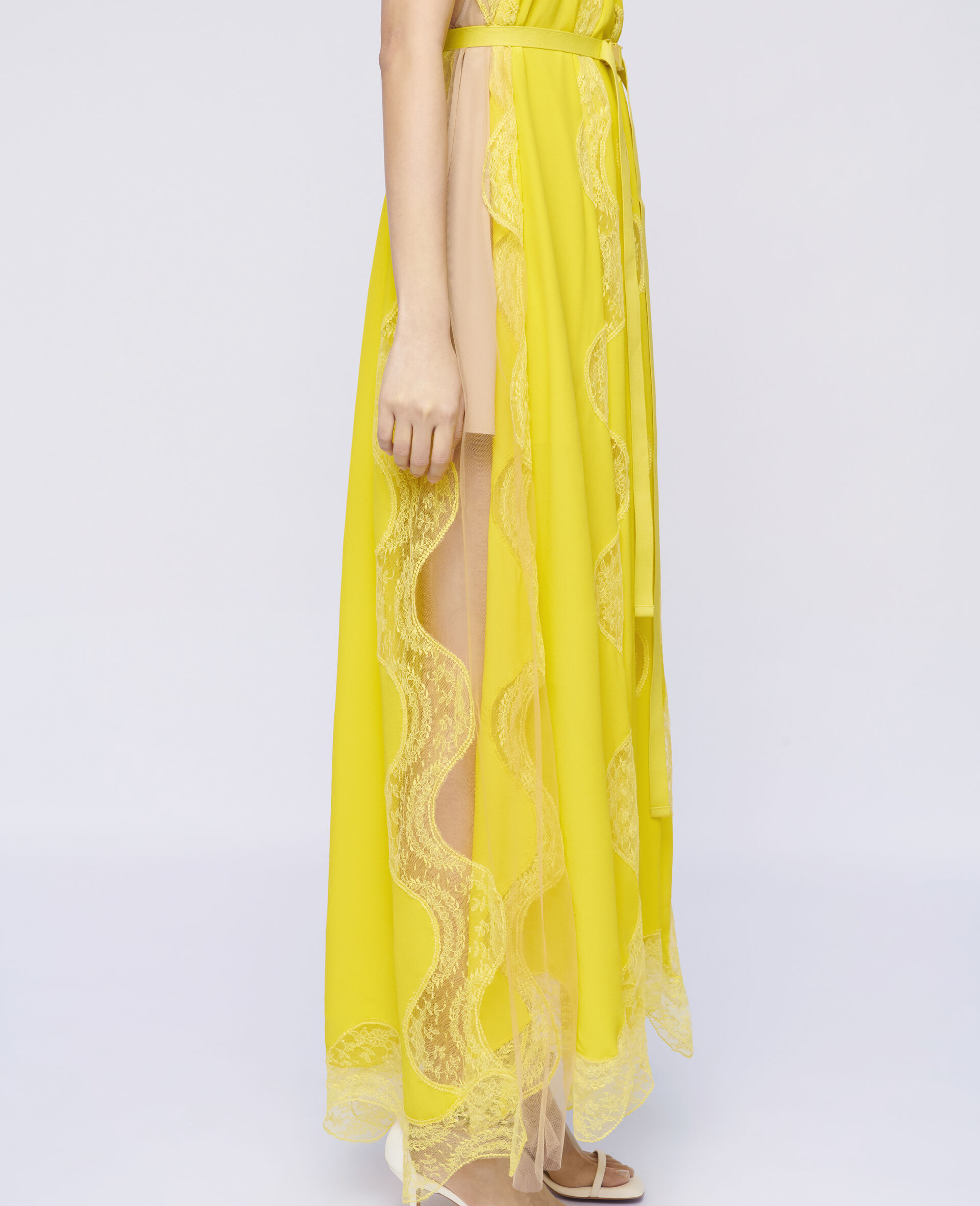 Abito Tiffany in Pizzo -Giallo-large image number 3
