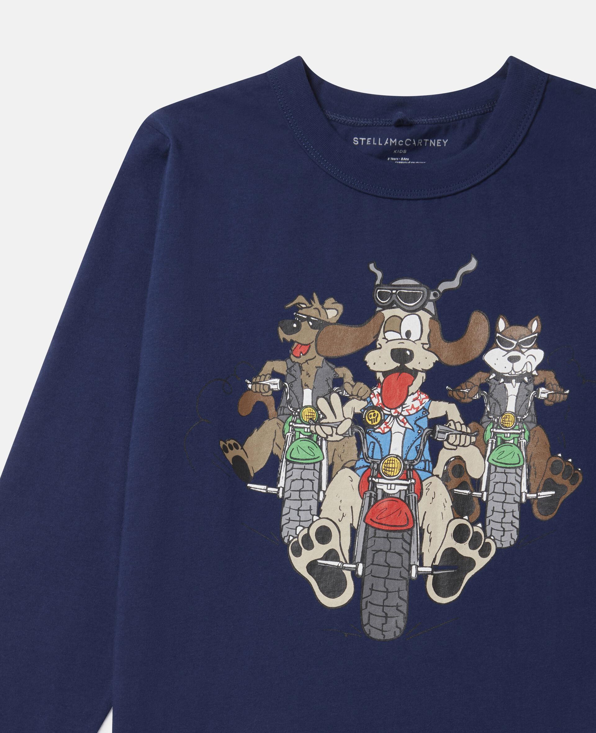 """Übergroßes Baumwoll-Top mit """"Doggie Riders""""-Print-Blau-large image number 1"""