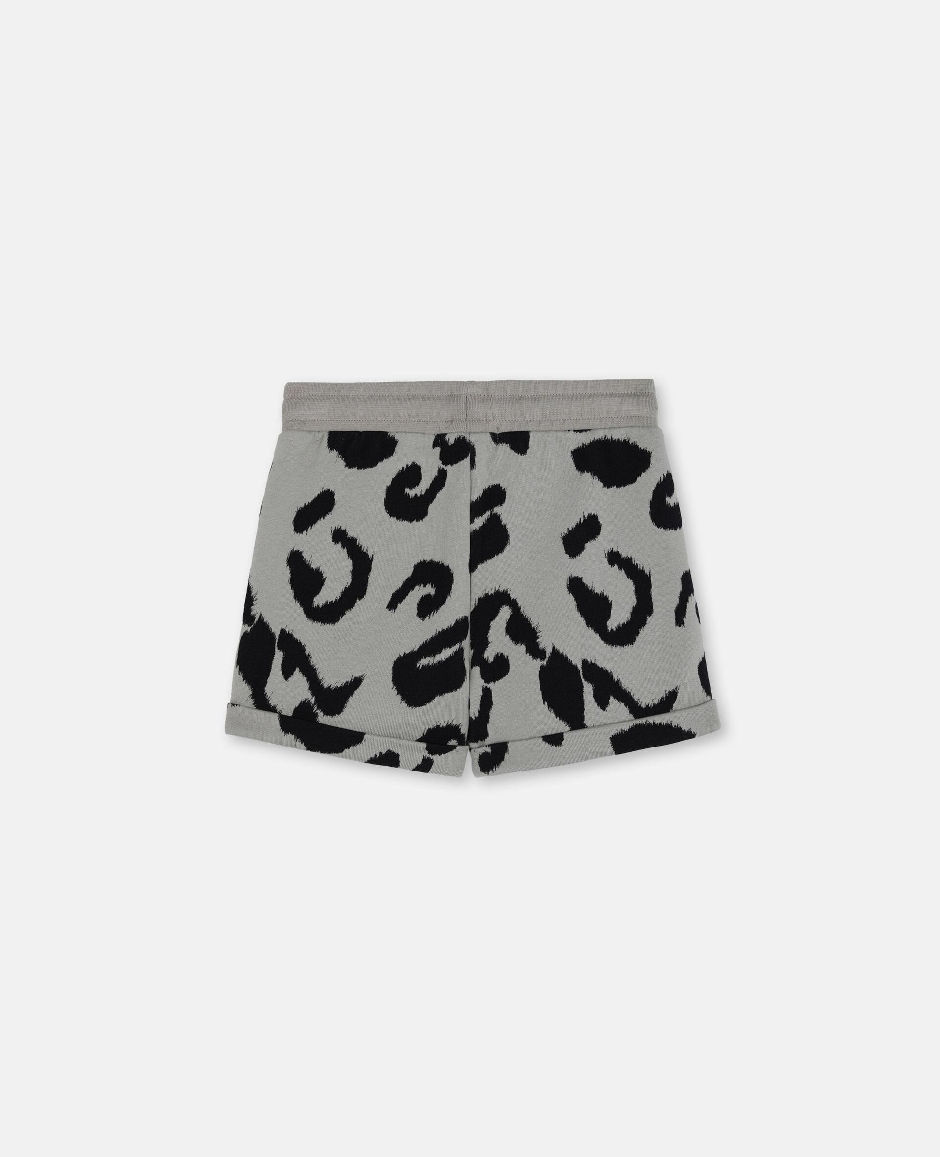Leopard Cotton Fleece Shorts-Multicolour-large image number 3