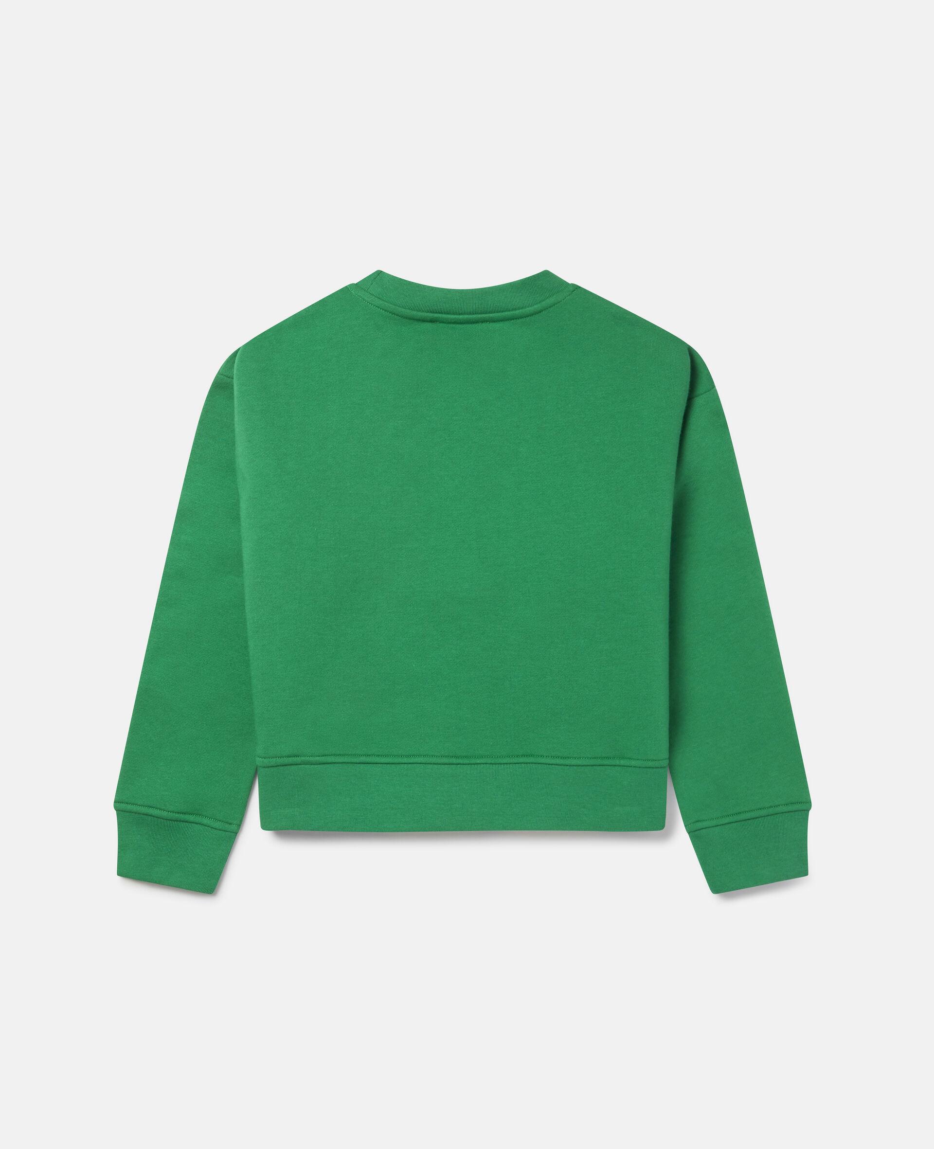 Übergroßes Sweatshirt aus Fleece mit tanzendem Hund -Grün-large image number 3