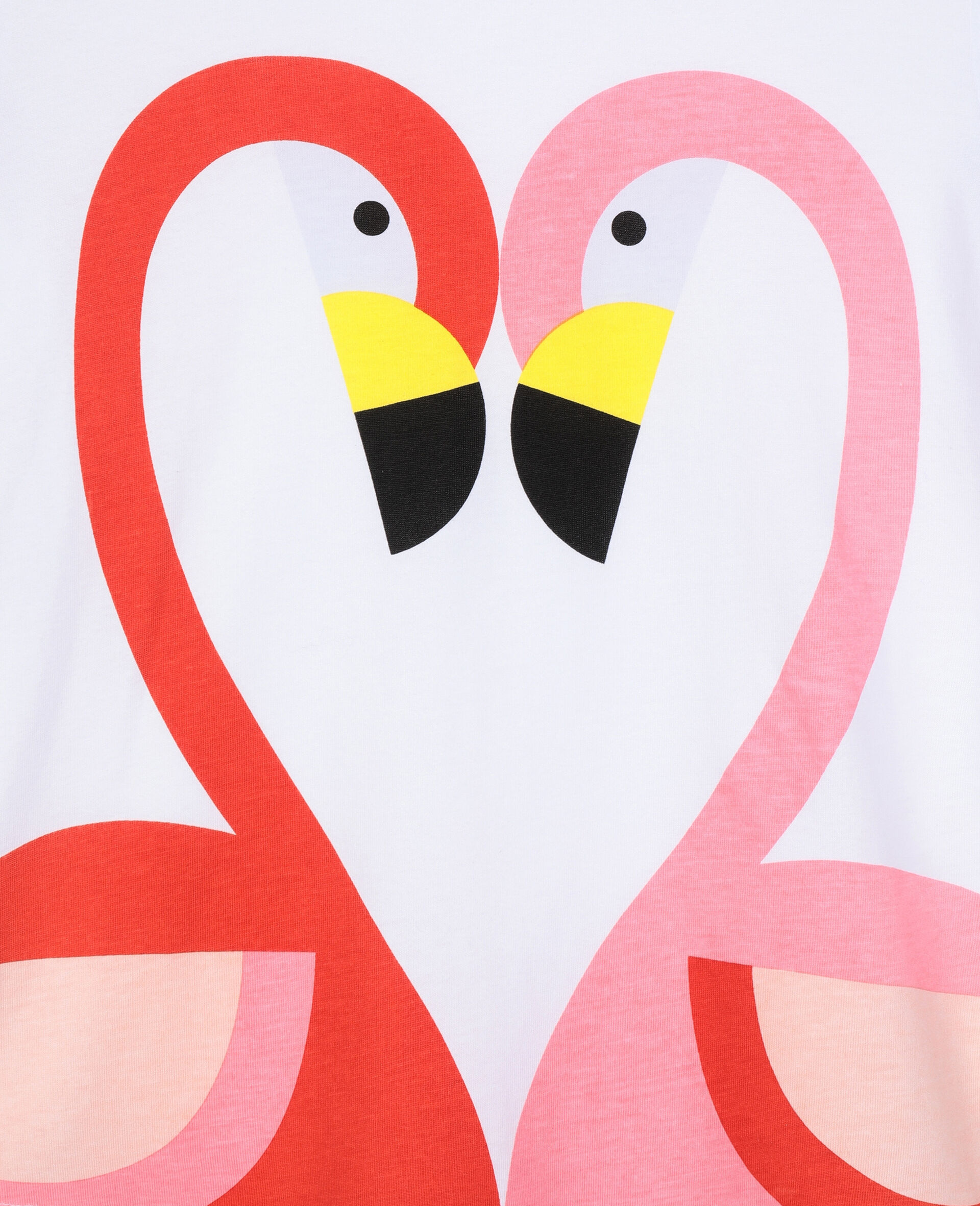 Baumwoll-T-Shirt mit Flamingos-Weiß-large image number 1