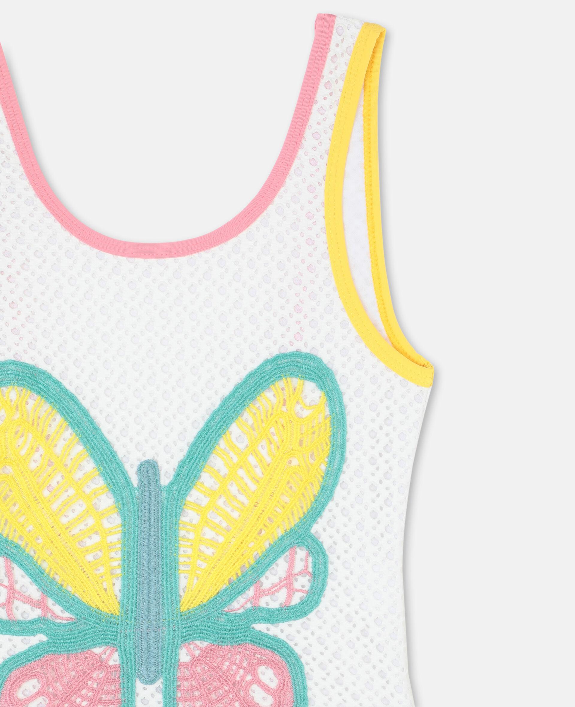 Badeanzug mit Schmetterlings-Häkelarbeit-Weiß-large image number 1