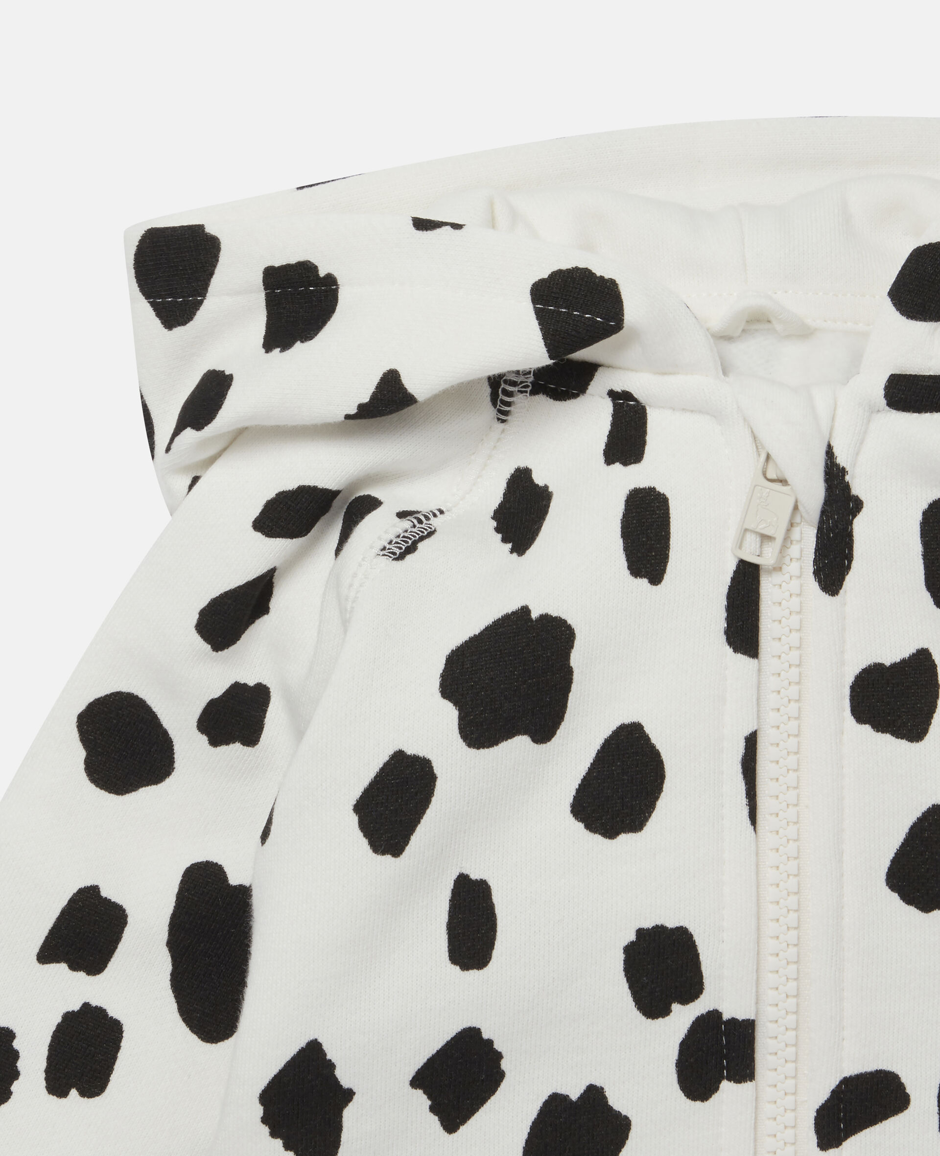 Kapuzenpullover aus Fleece mit Dalmatinerflecken-Weiß-large image number 1