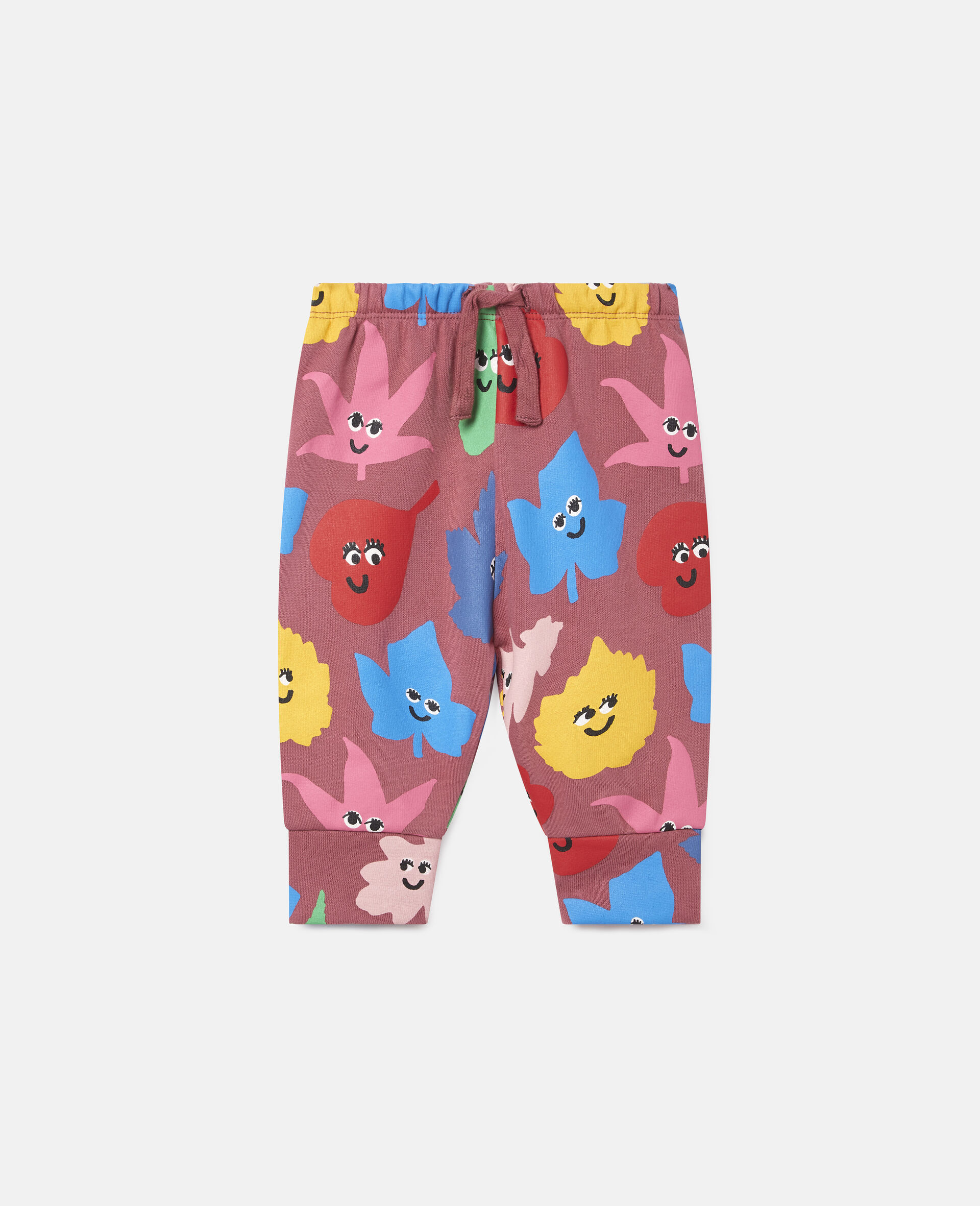 Smiley Leaves Fleece Joggers-Red-large image number 0