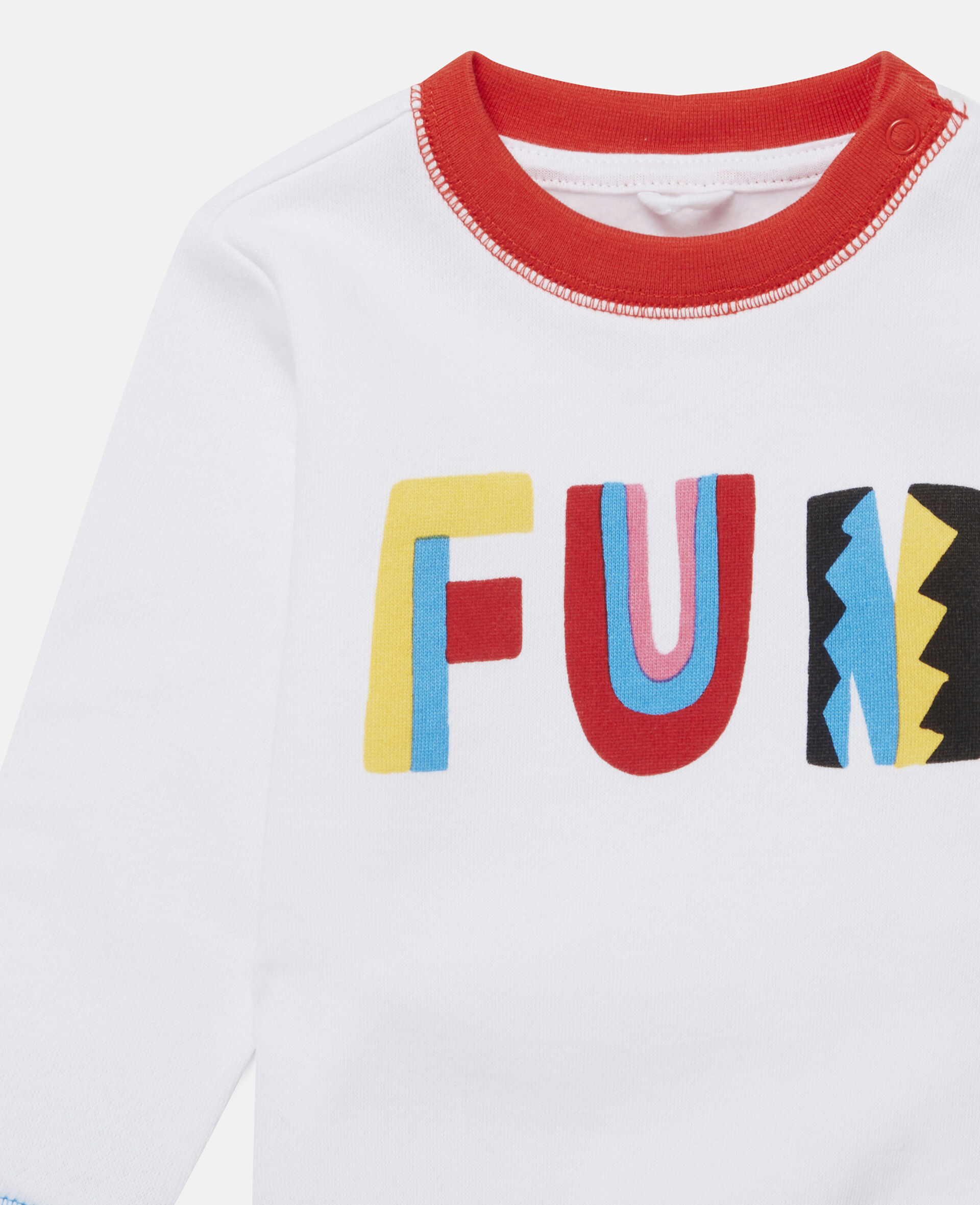 Fröhliches blockfarbenes Fleece-Swat-Shirt-Weiß-large image number 1