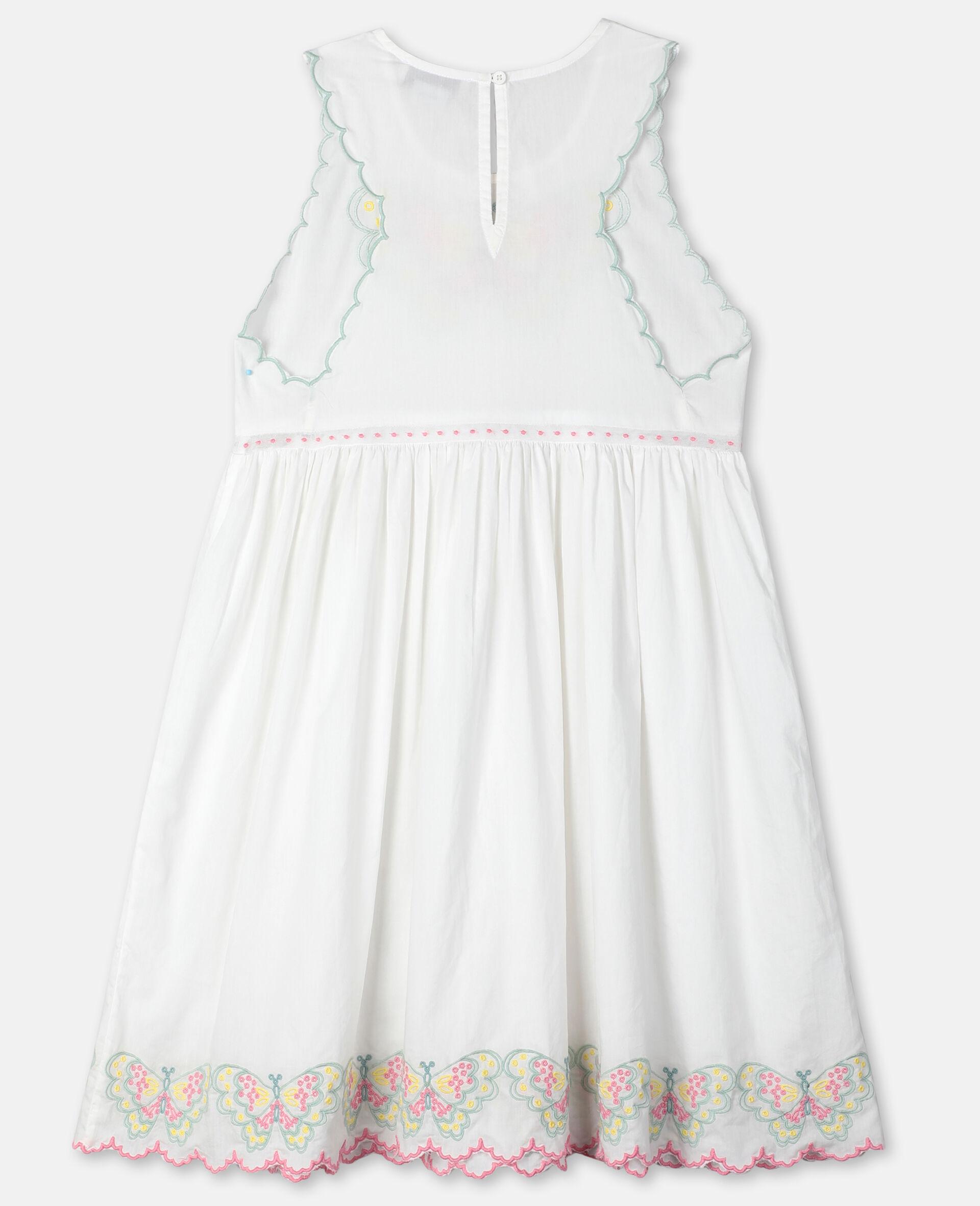 Butterfly刺绣棉质连衣裙-白色-large image number 3
