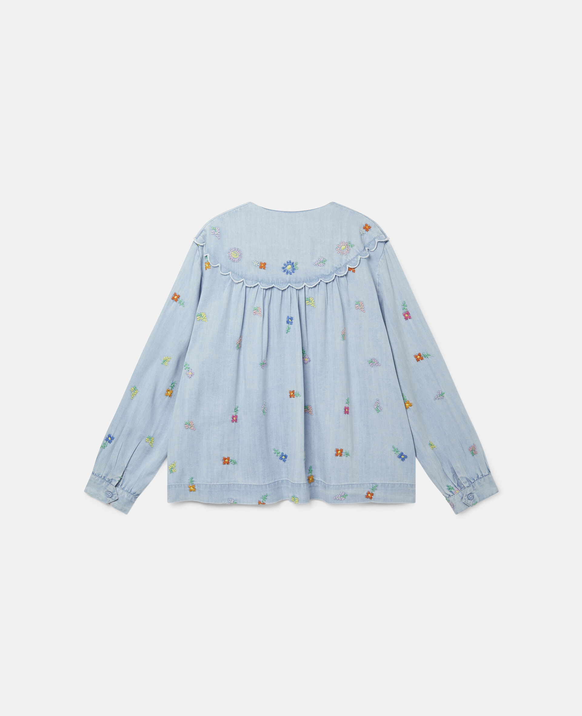 Embroidered Flowers Denim Shirt-Blue-large image number 3