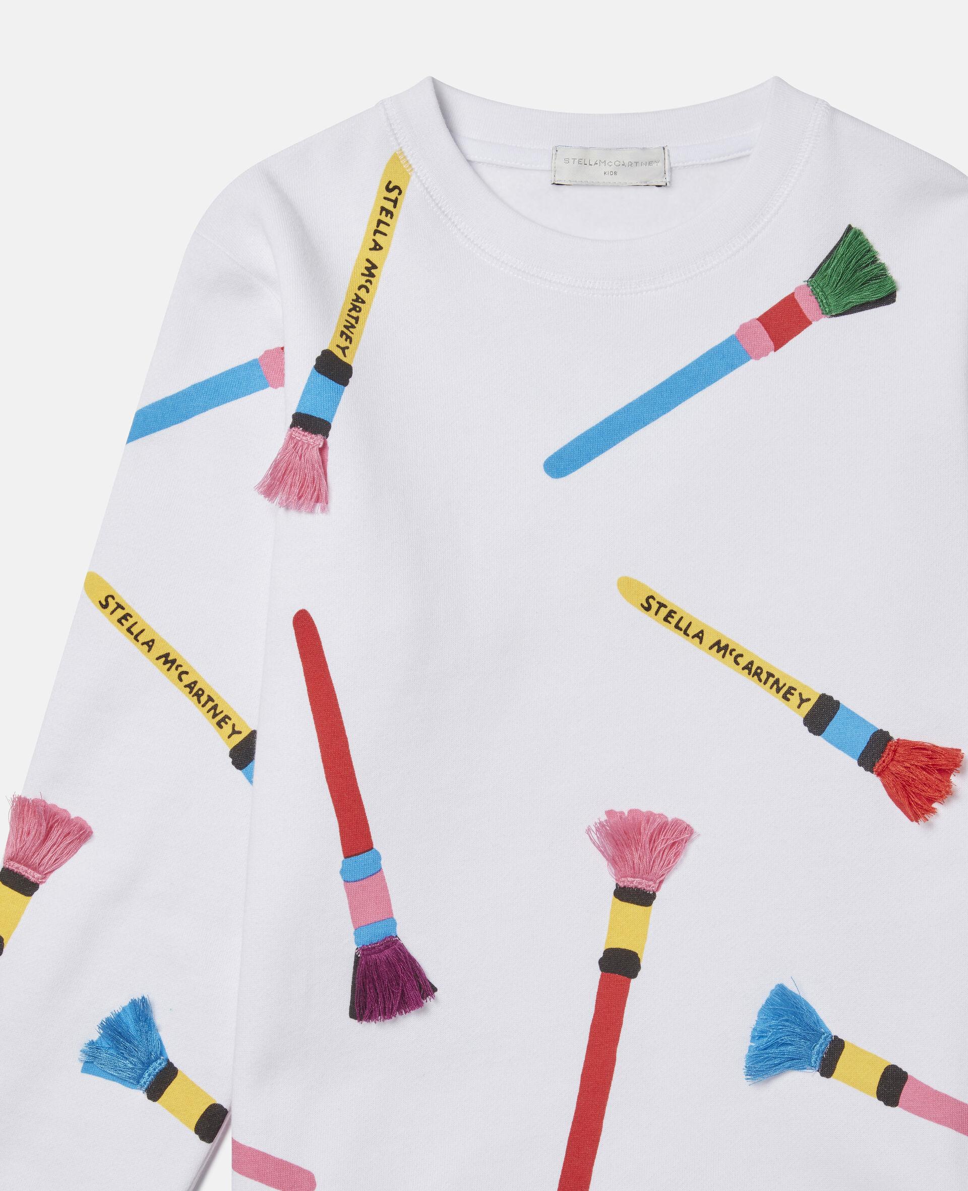 Sweatshirt aus Baumwollfleece mit Pinsel-Print -Weiß-large image number 1