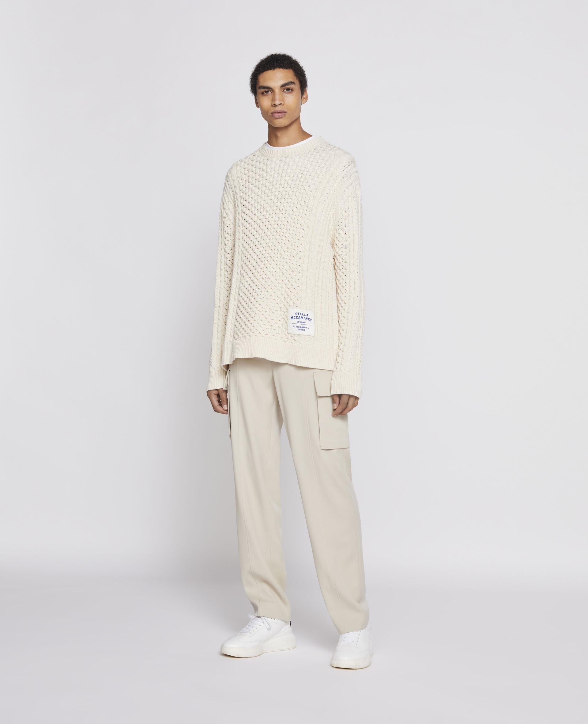 Aran Stitch Sweater-Beige-large image number 1