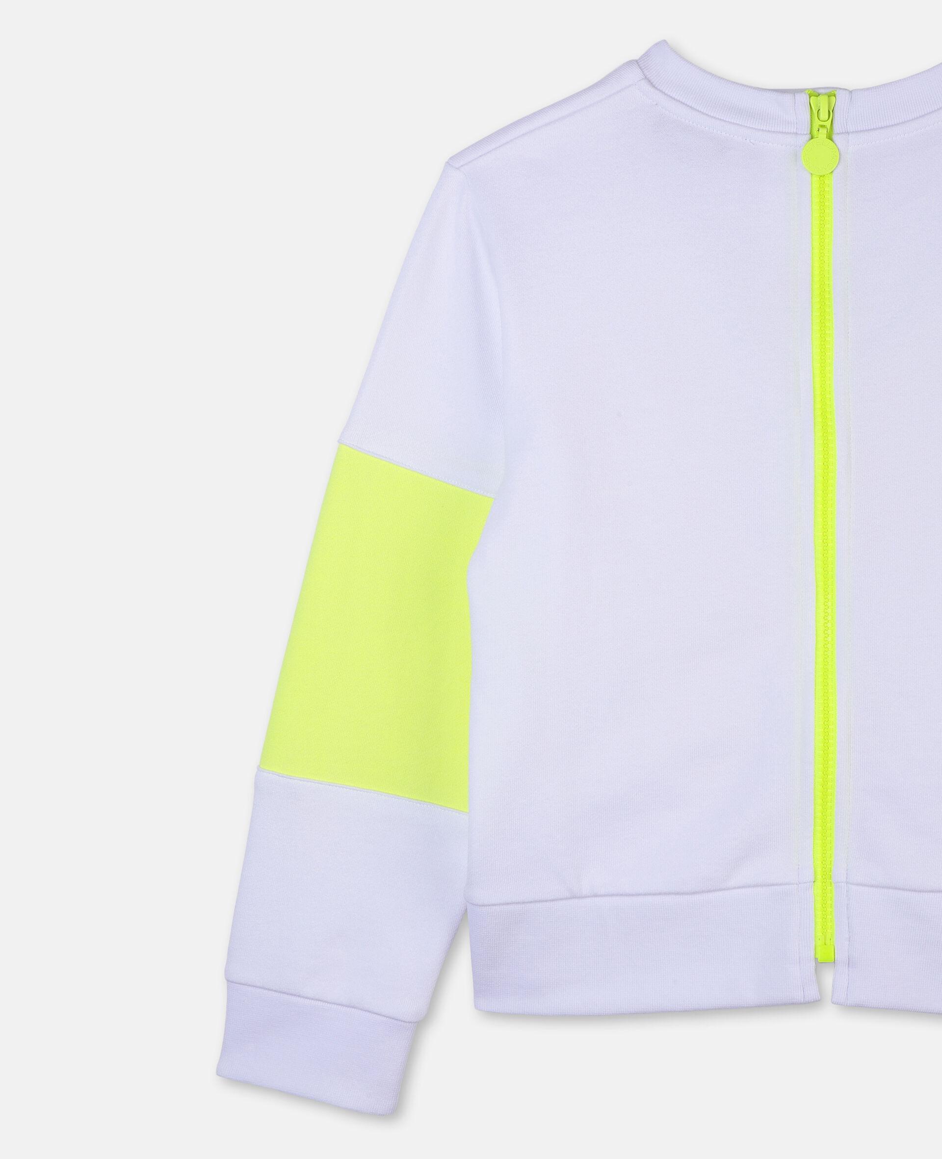 Sweat-shirt de sport en molleton de coton avec logo-Blanc-large image number 2