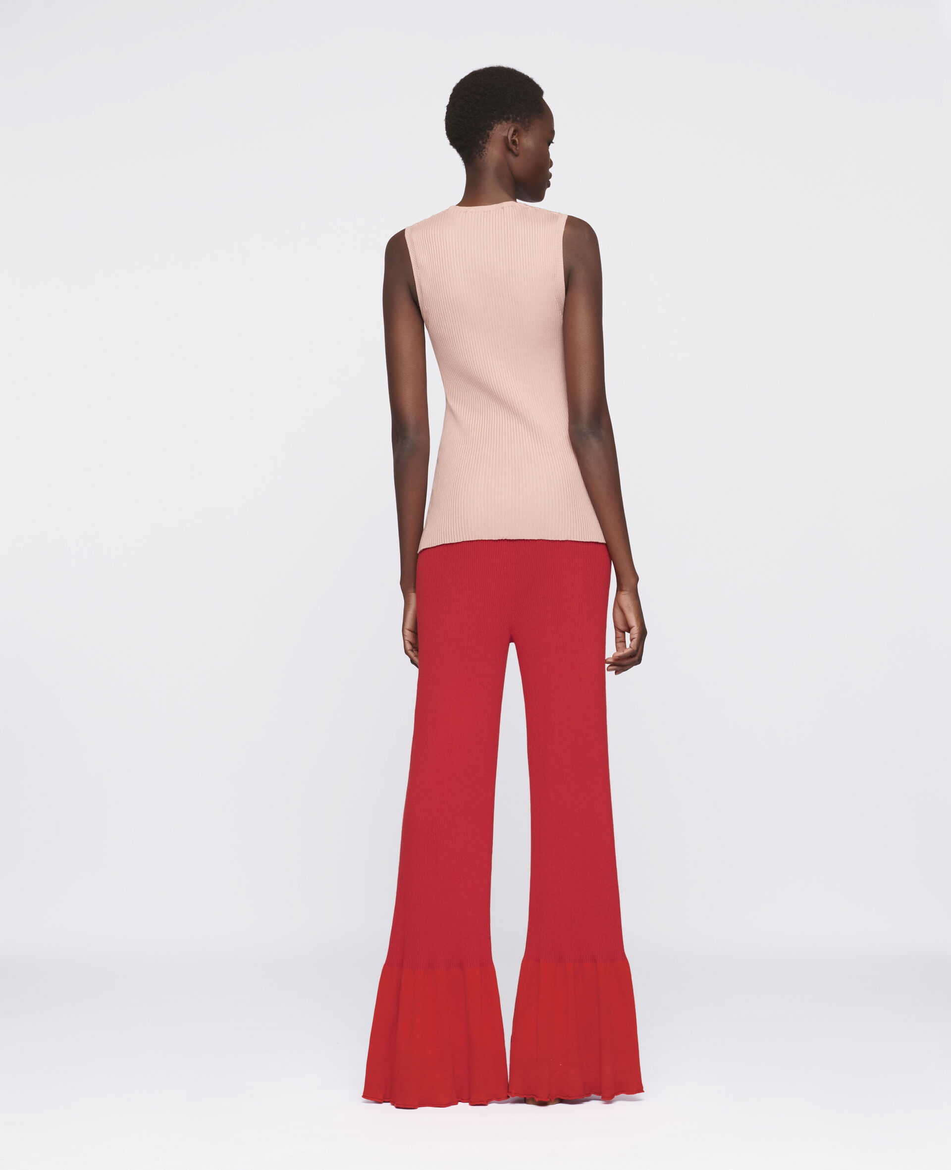 Flared Leg Trousers-Red-large image number 2