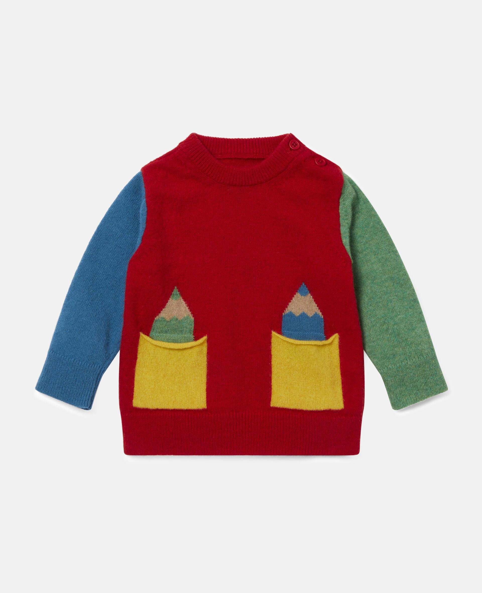 Strickpullover in Blockfarben-Design mit Intarsienmuster-Bunt-large image number 0