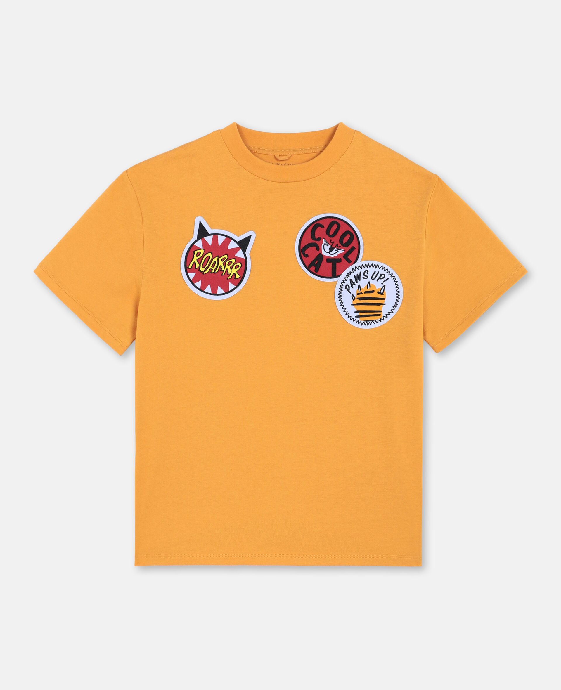 T-shirt oversize en coton avec écussons chat -Orange-large image number 0
