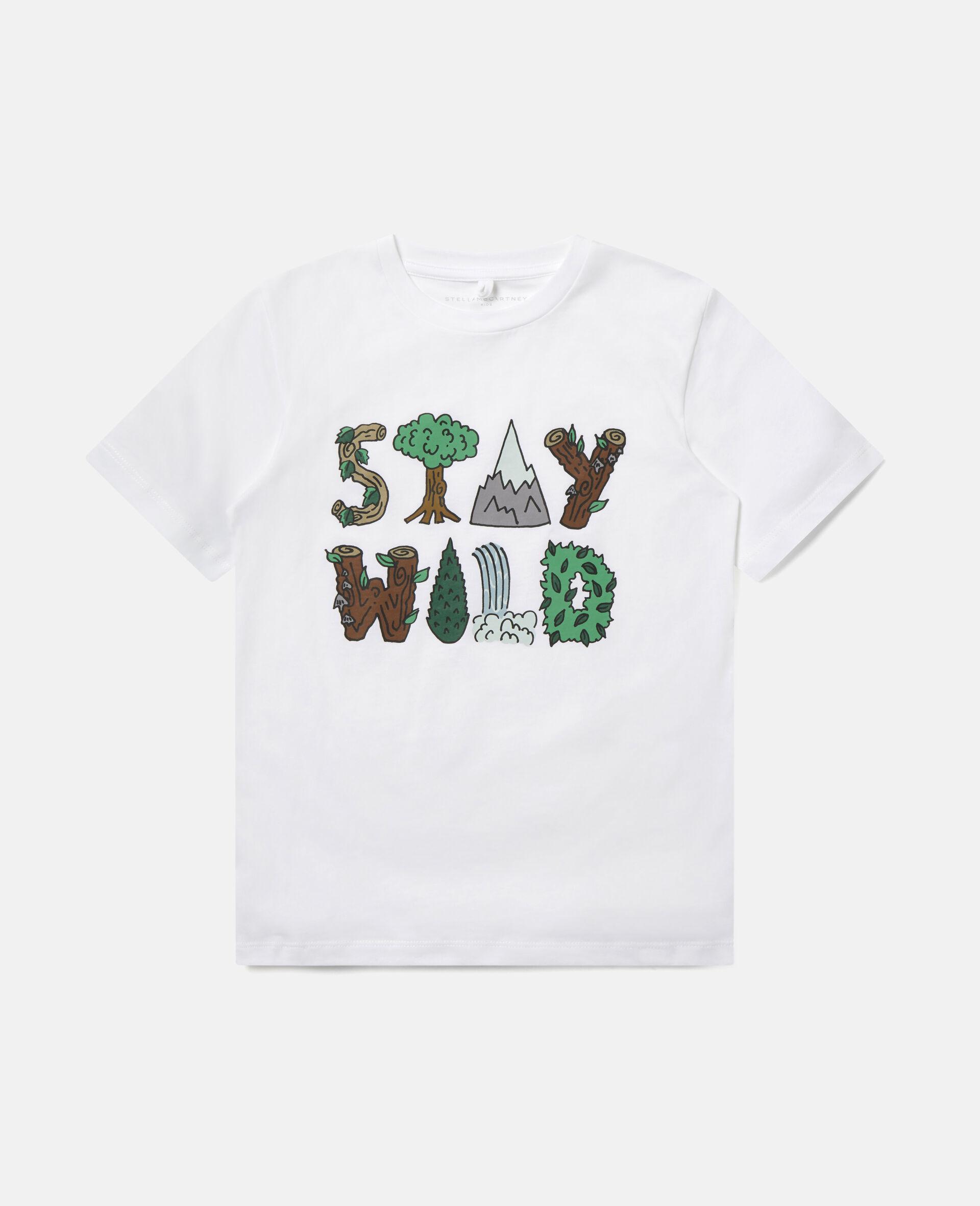 "Baumwoll-T-Shirt mit ""Stay Wild""-Print-Weiß-large image number 0"