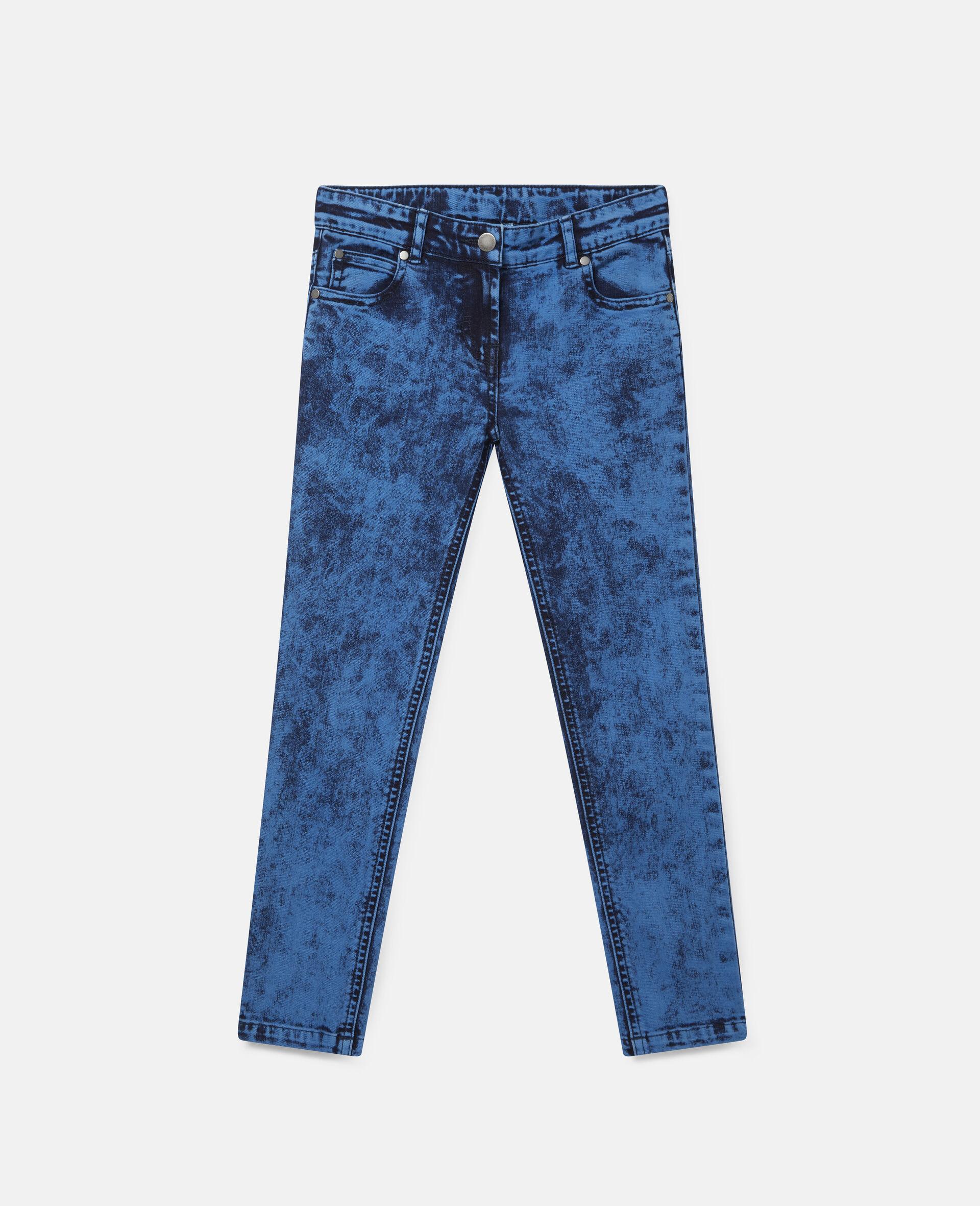 Acid Dye Wash Denim Pants -Blue-large image number 0