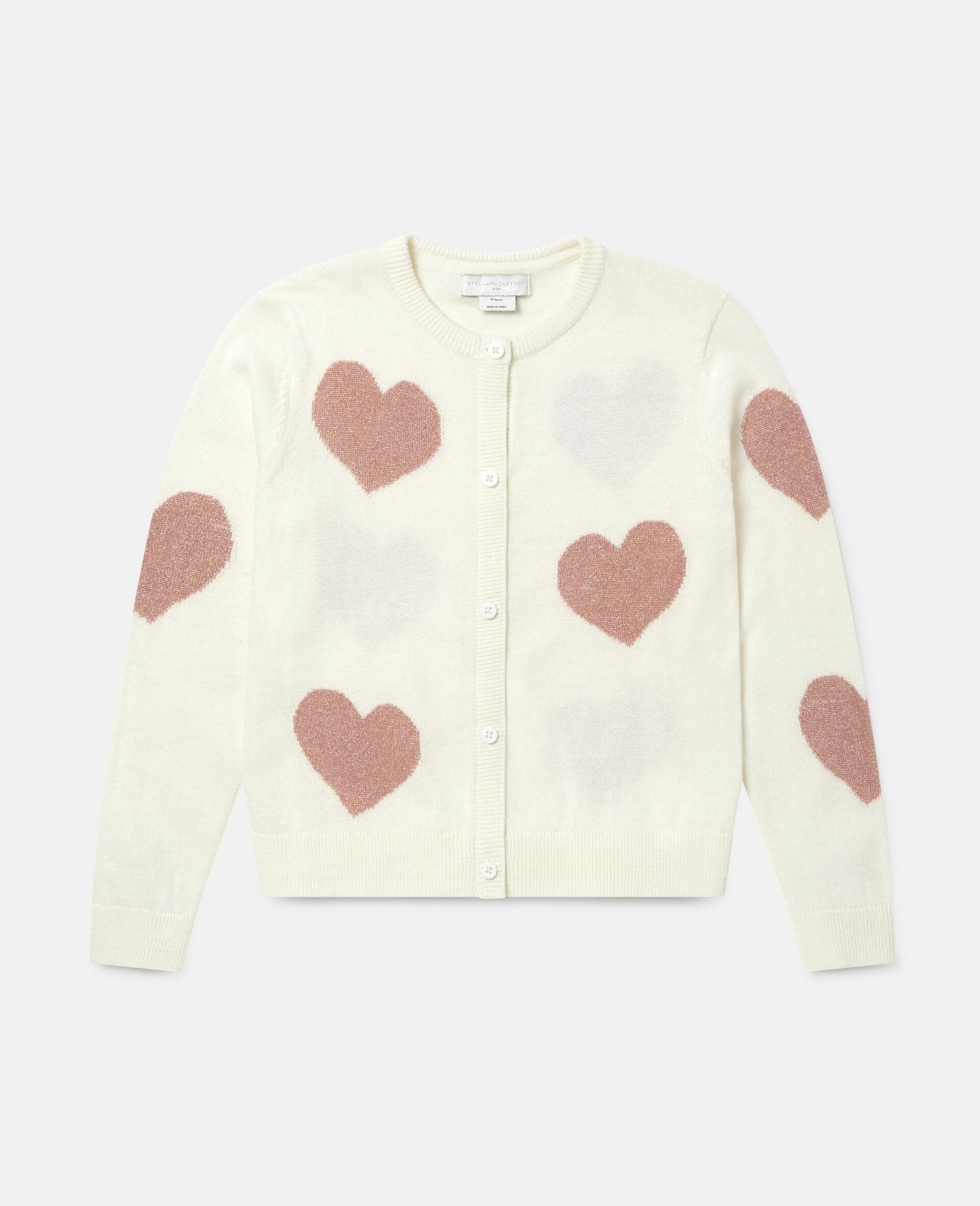 Hearts Knit Cardigan -White-large image number 0