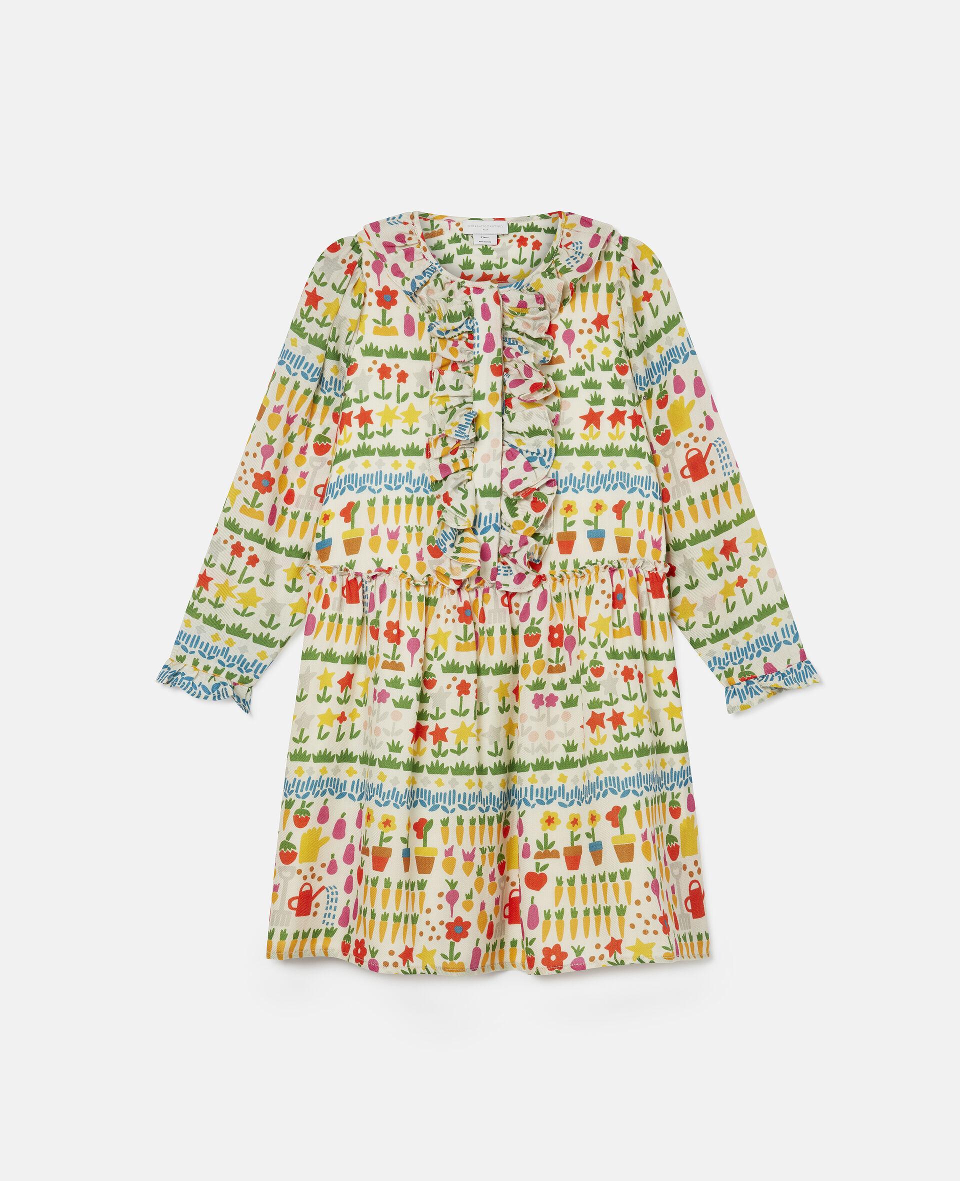 Kleid aus Wolle mit Garten-Print-Bunt-large image number 0
