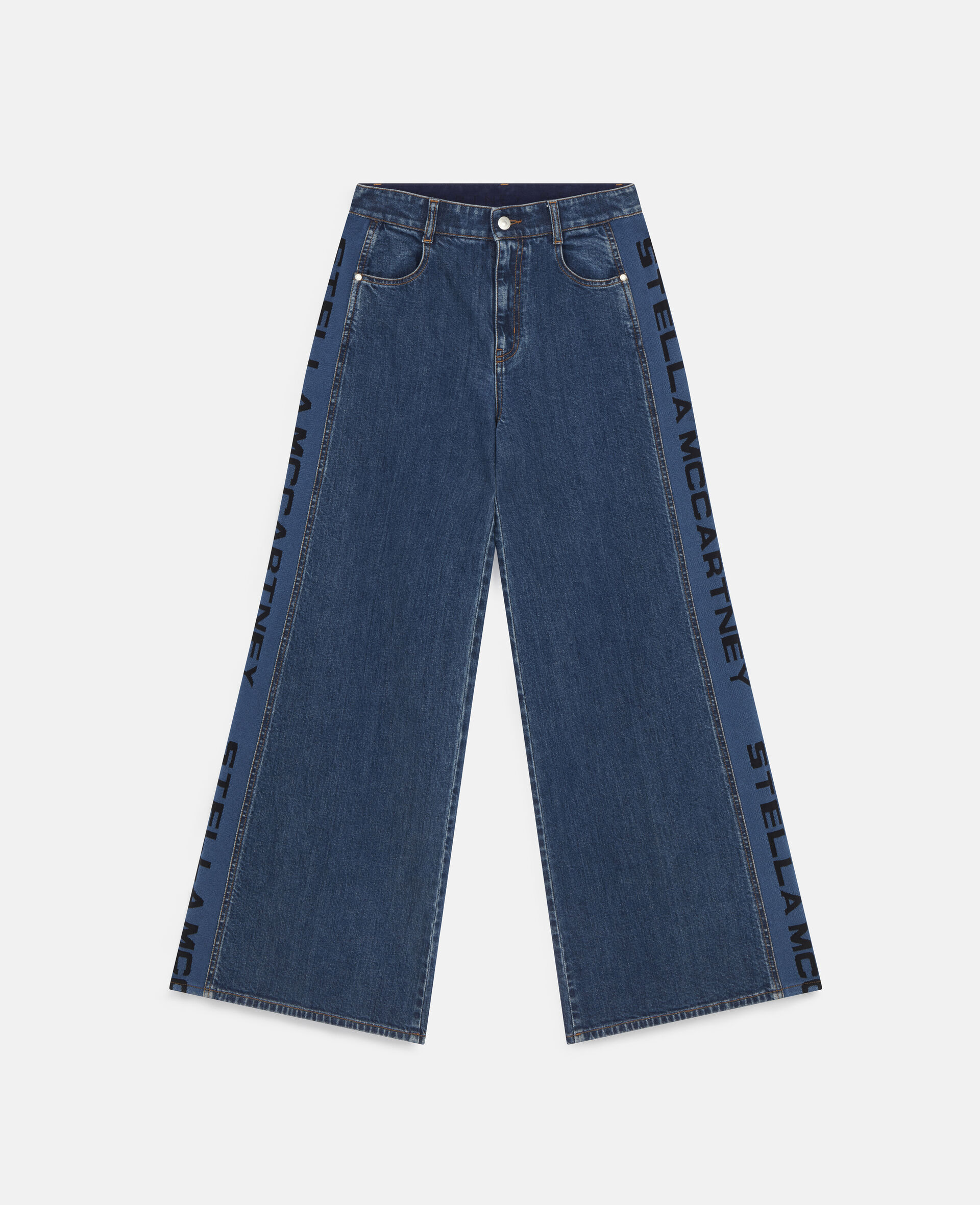 Flared Rib Denim Trousers-Blue-large image number 0