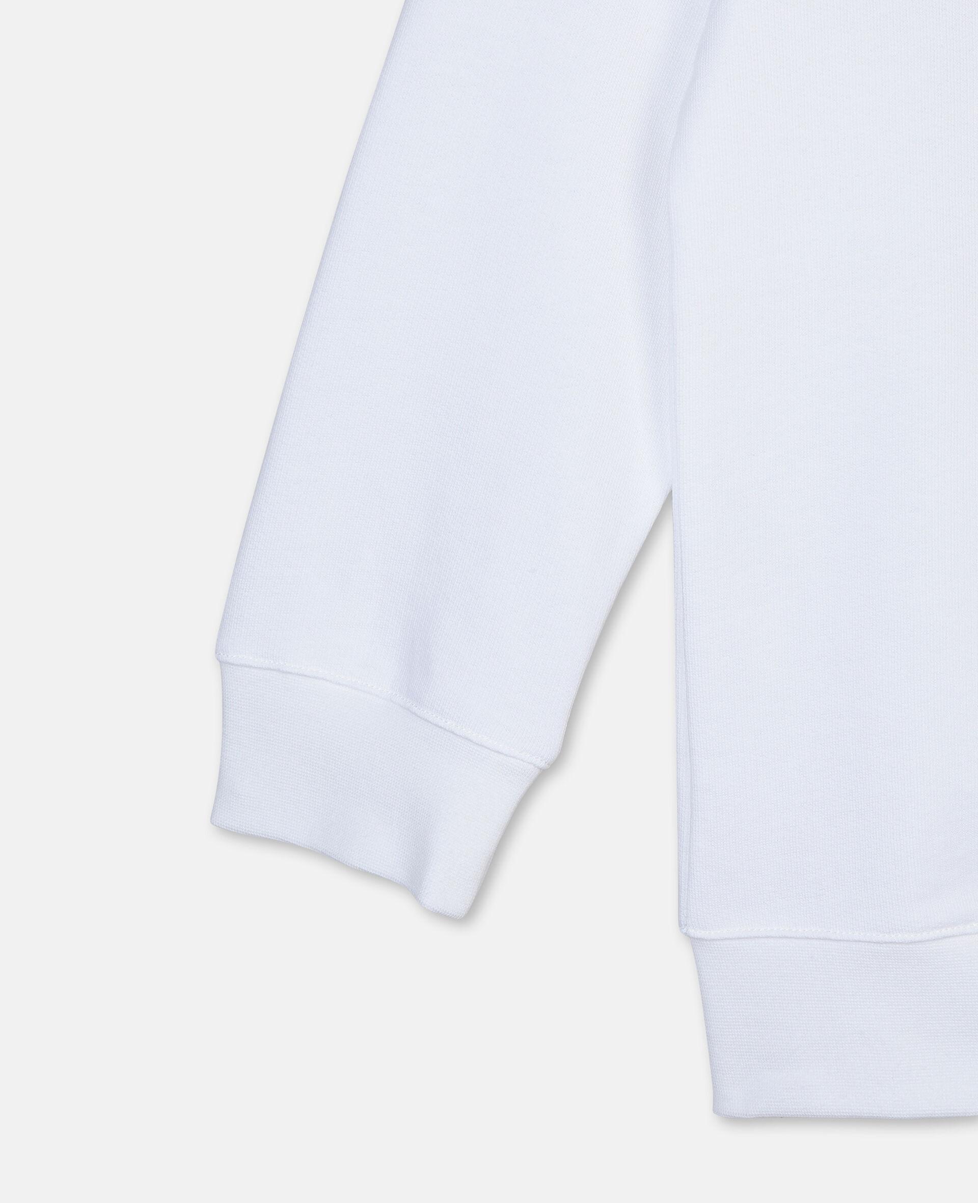 Oversize Basketball Cotton Sweatshirt -White-large image number 2