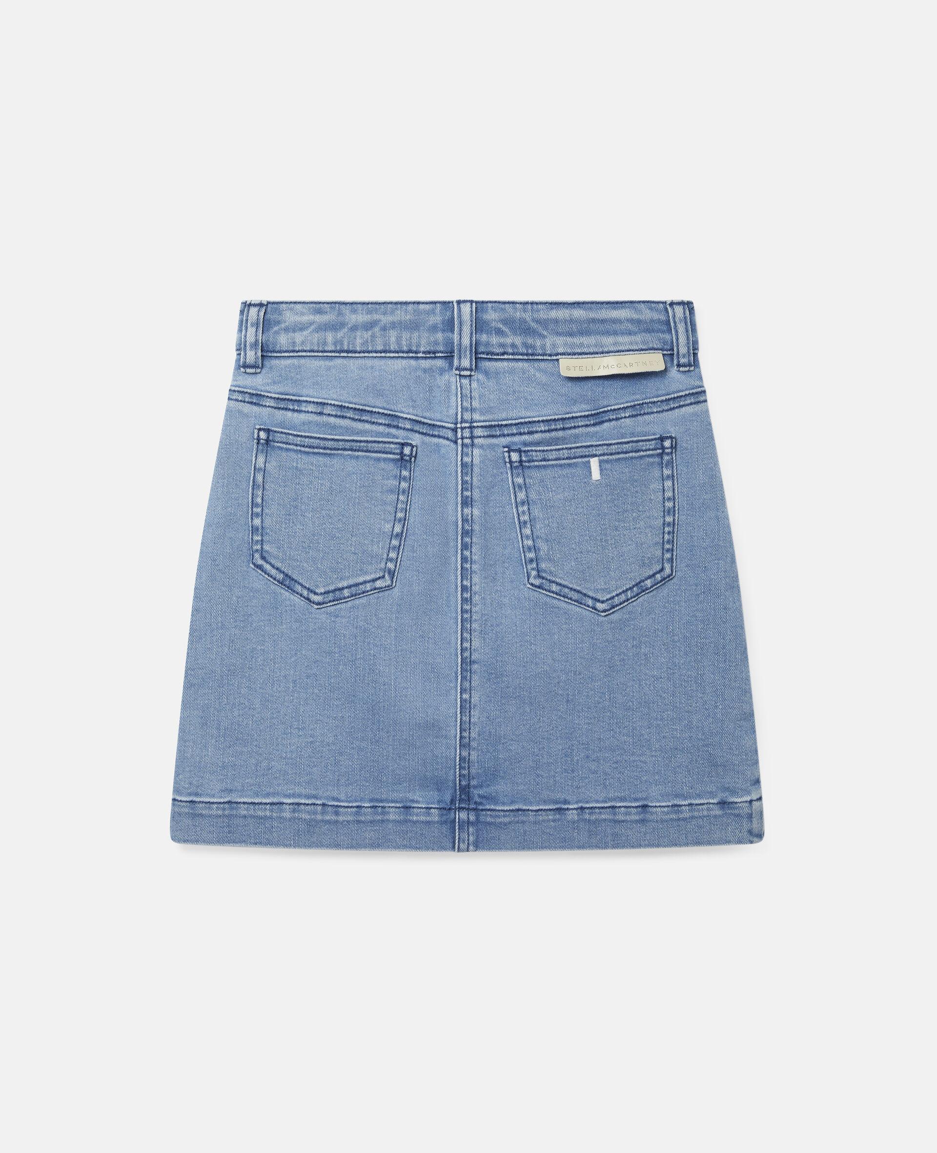 Embroidered Flowers Denim Skirt -Blue-large image number 3