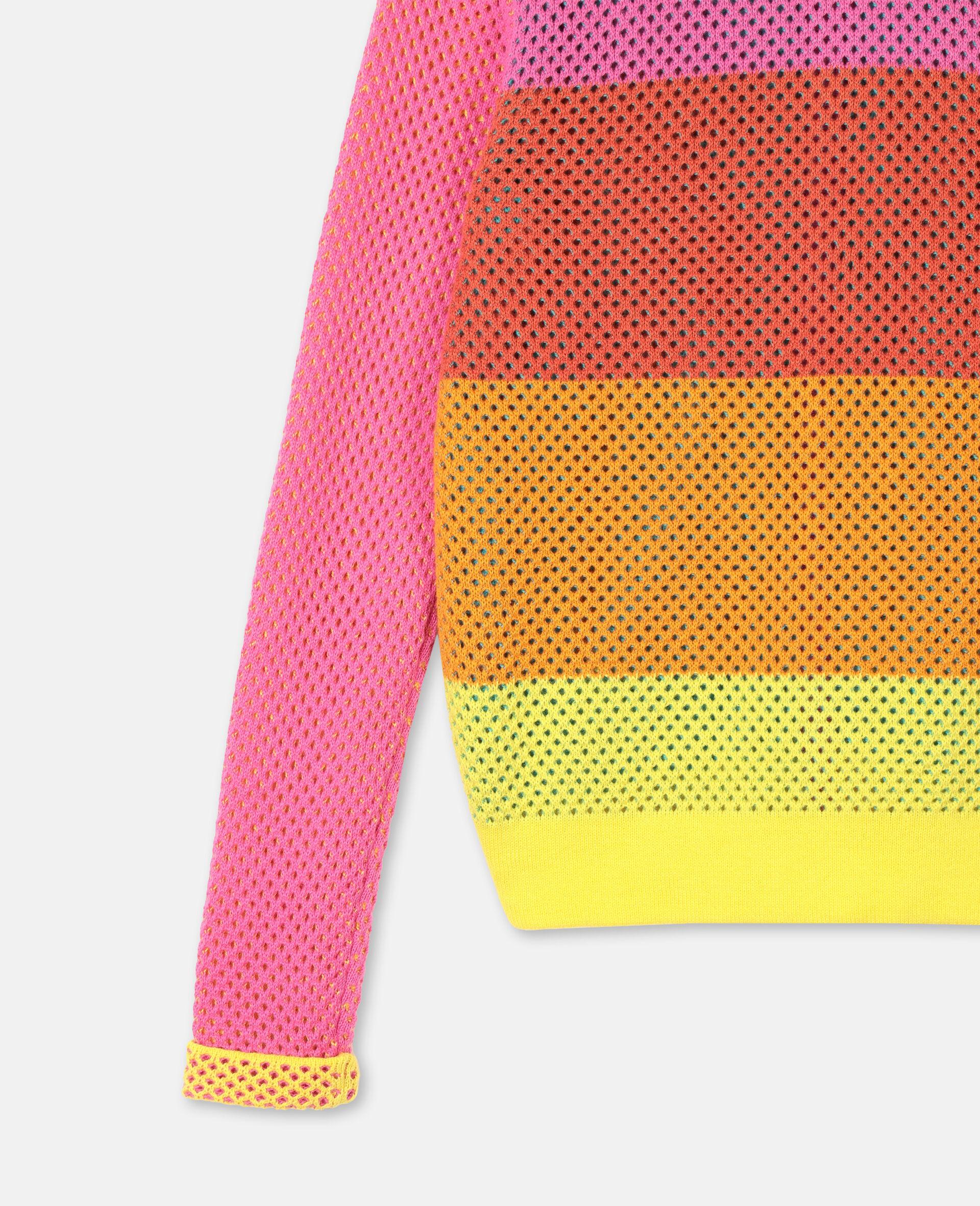 Intarsia Mesh Knit Cotton Cardigan-Multicoloured-large image number 2