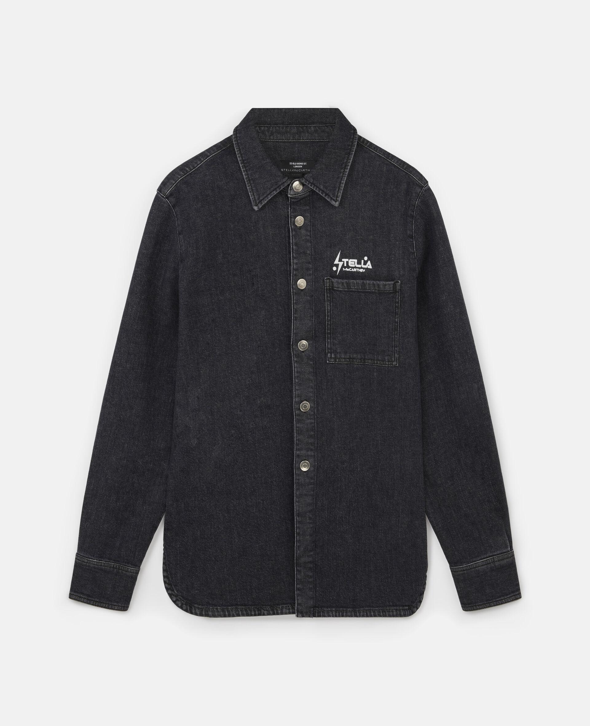 Tom Tosseyn Stella Logo Denim Shirt-Black-large image number 0