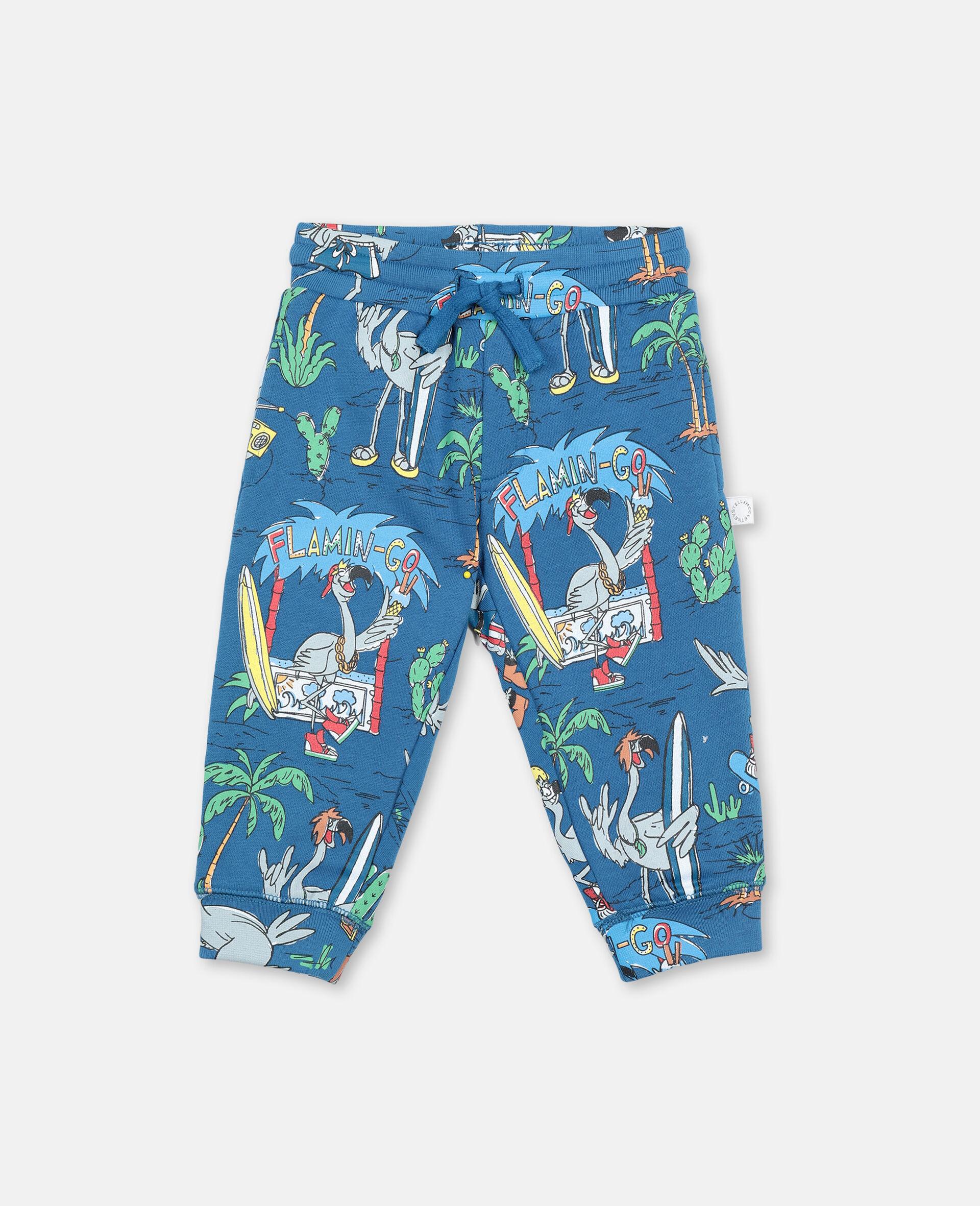 Flamingo Land Cotton Sweatpants-Blue-large image number 0