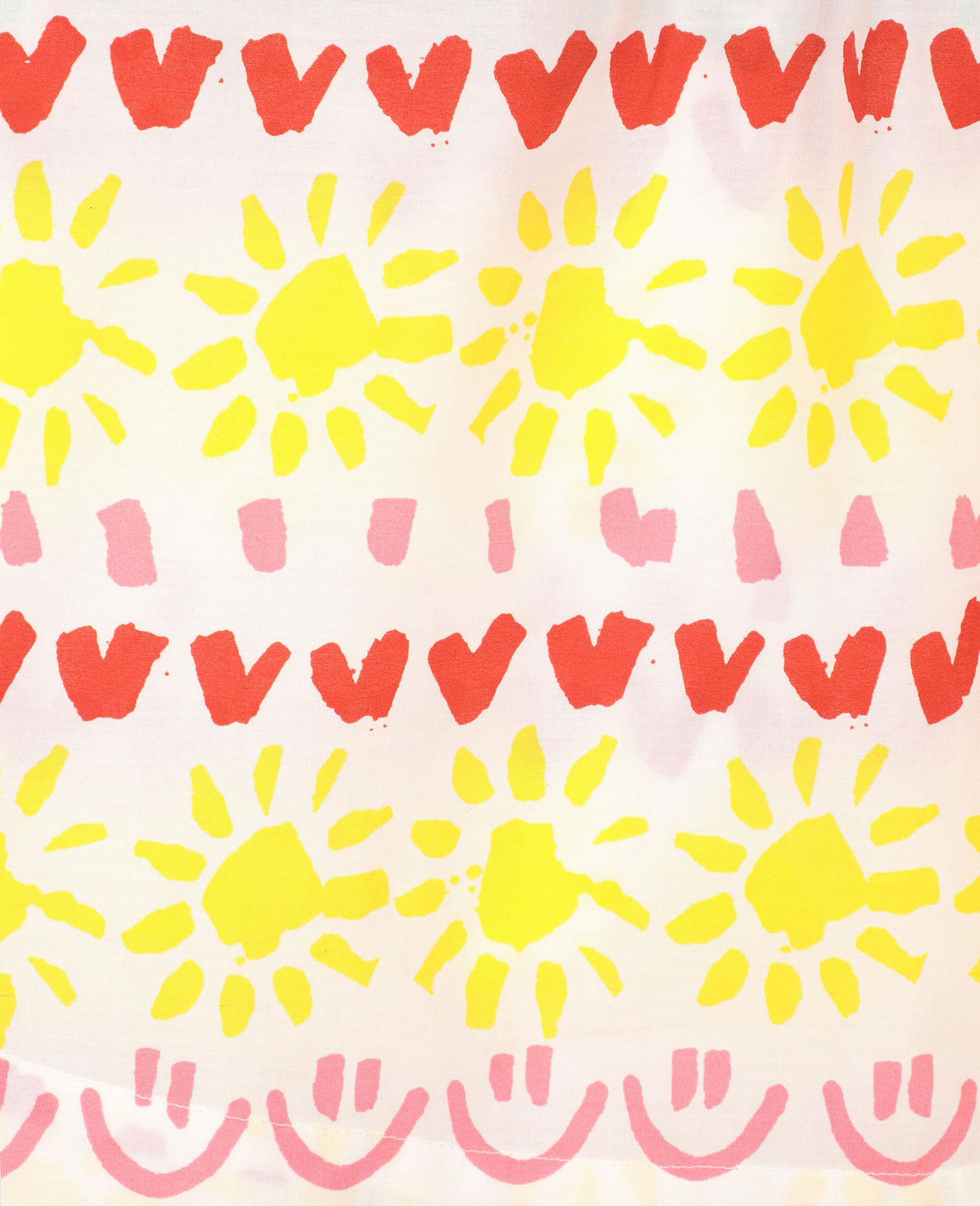 """Kleid aus Baumwolle mit """"Happy Stripes""""-Print-Gelb-large image number 1"""