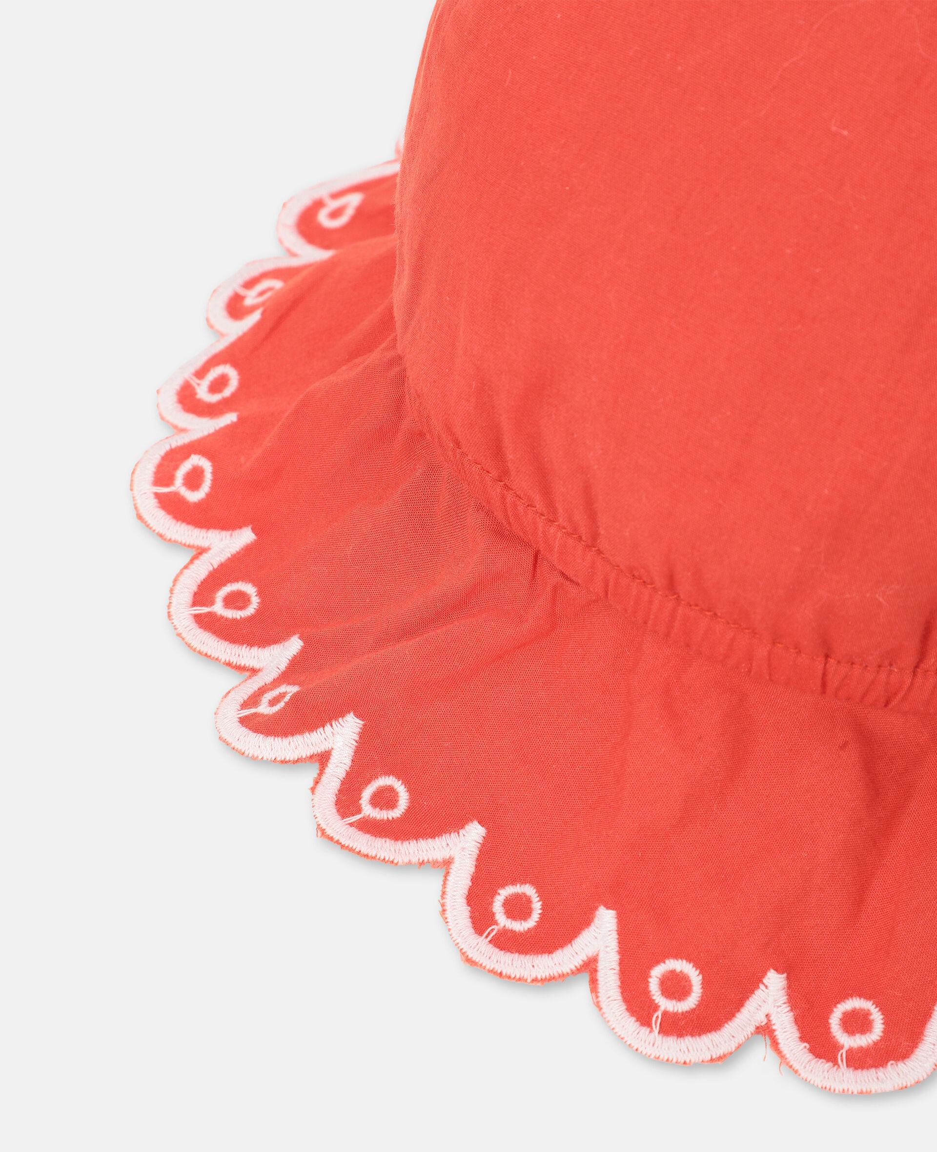 Chapeau en coton festonné -Rouge-large image number 2
