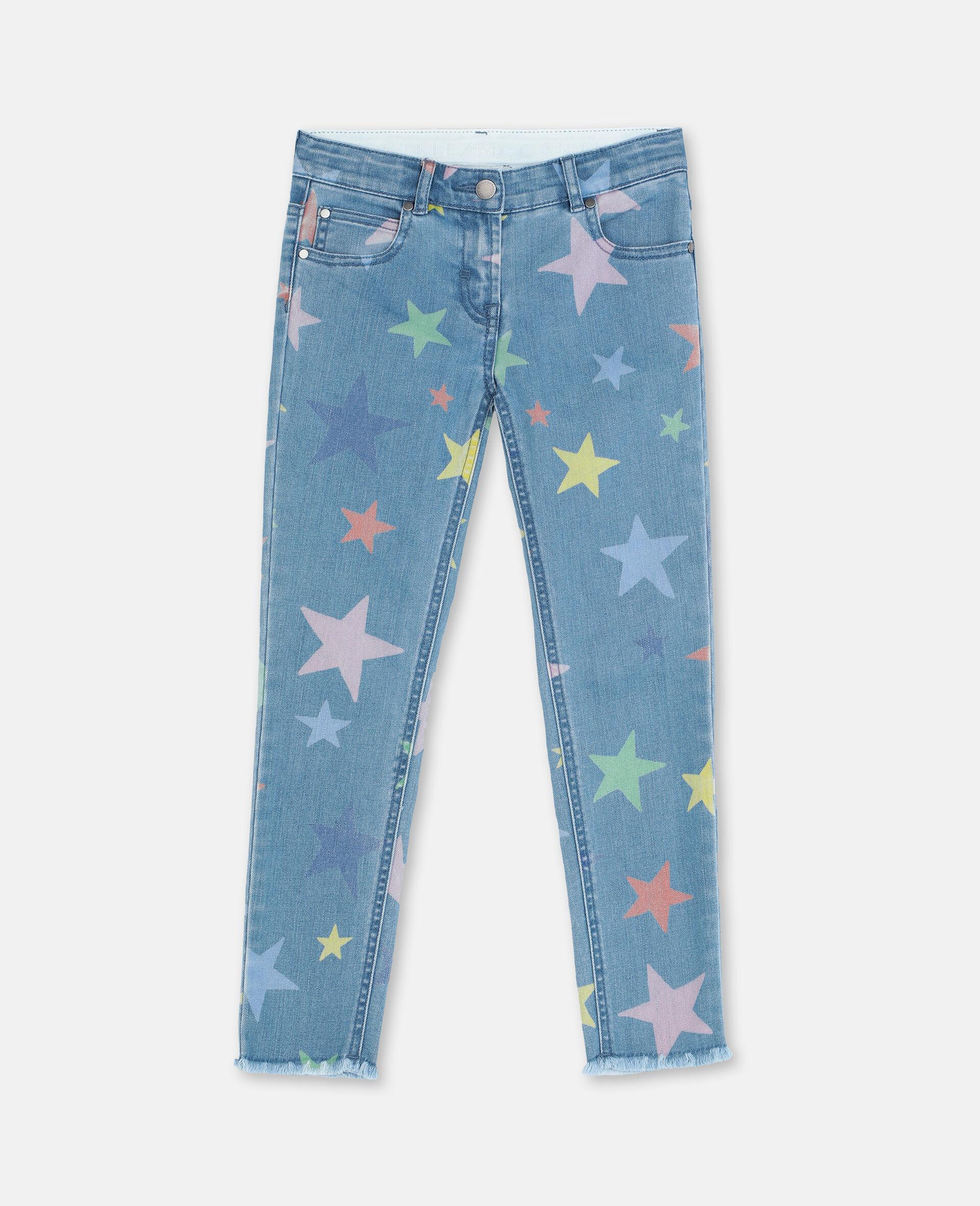 Pantalon en denim skinny avec étoiles multicolores-Fantaisie-large image number 0