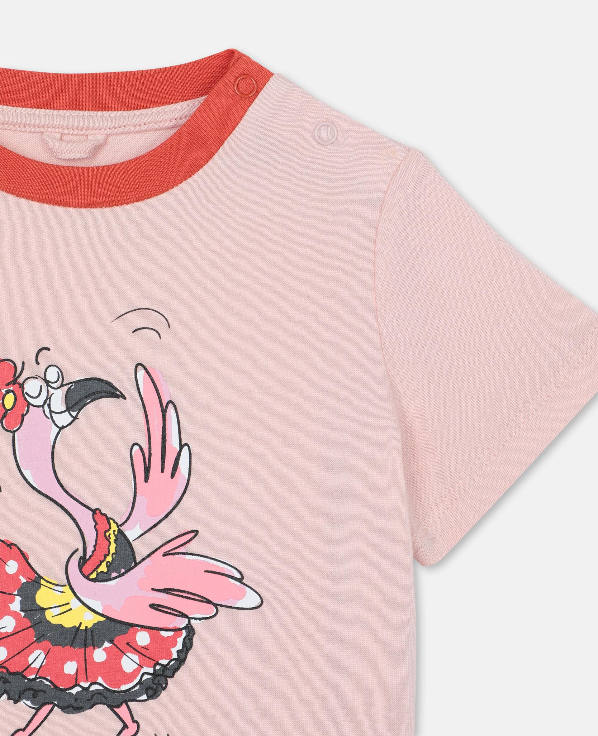 ダンシング フラミンゴ コットン Tシャツ-ピンク-large image number 1