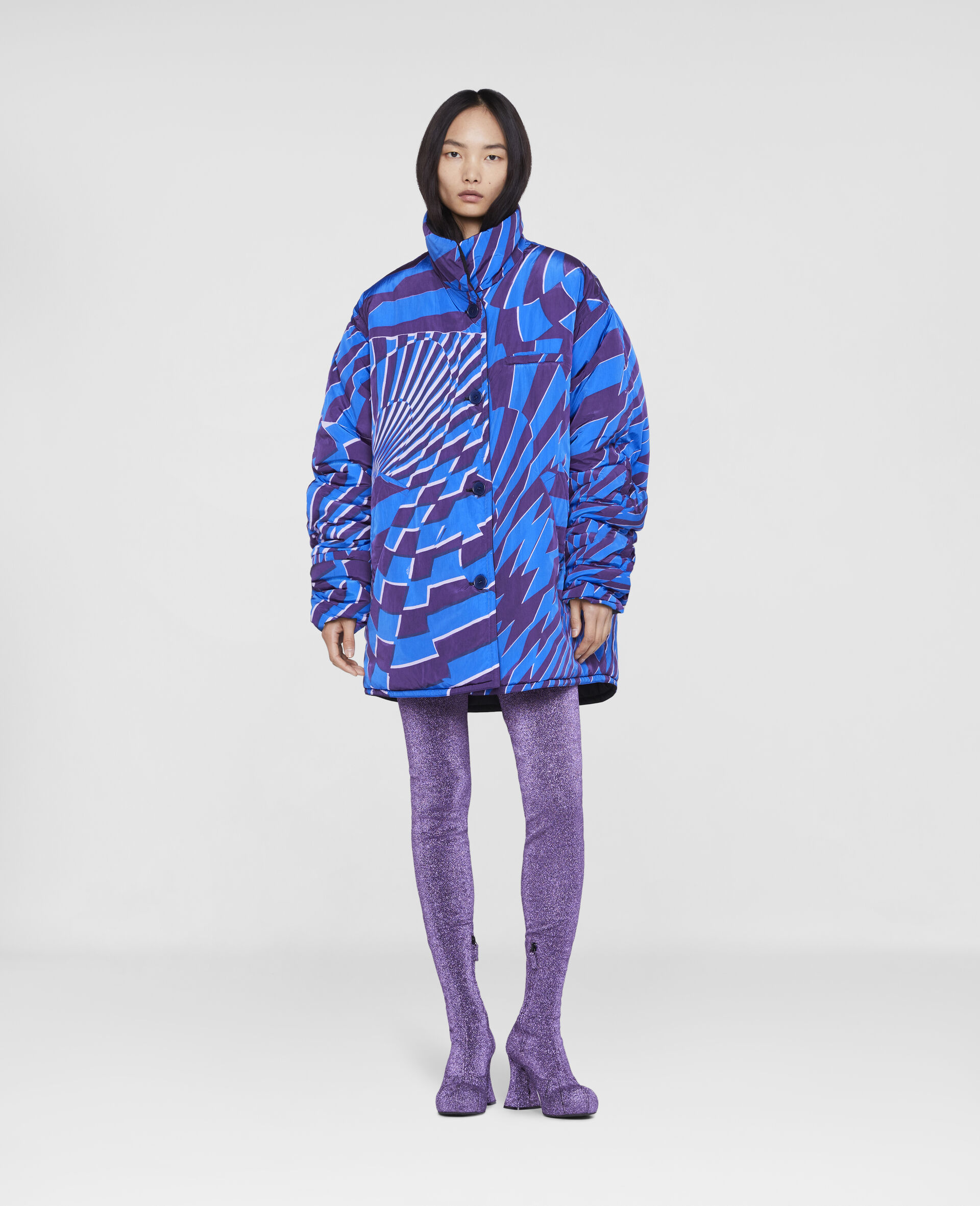 Ed Curtis Psychedelic Reversible Coat -Multicolour-large image number 1