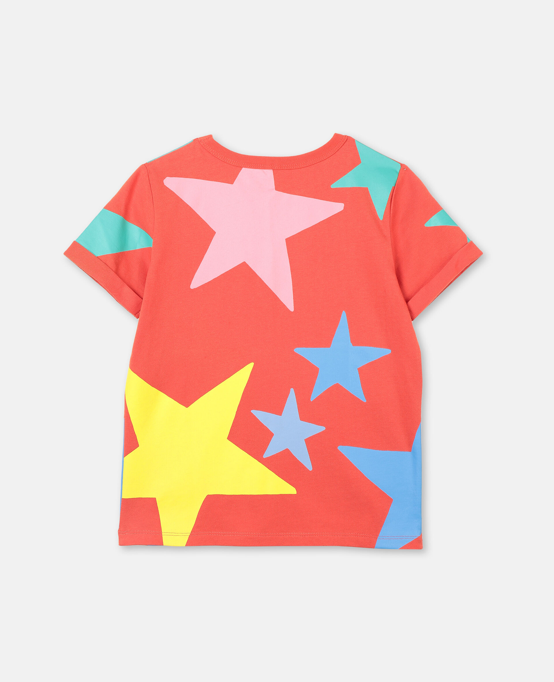Multicolor Stars Cotton T-shirt-White-large image number 3