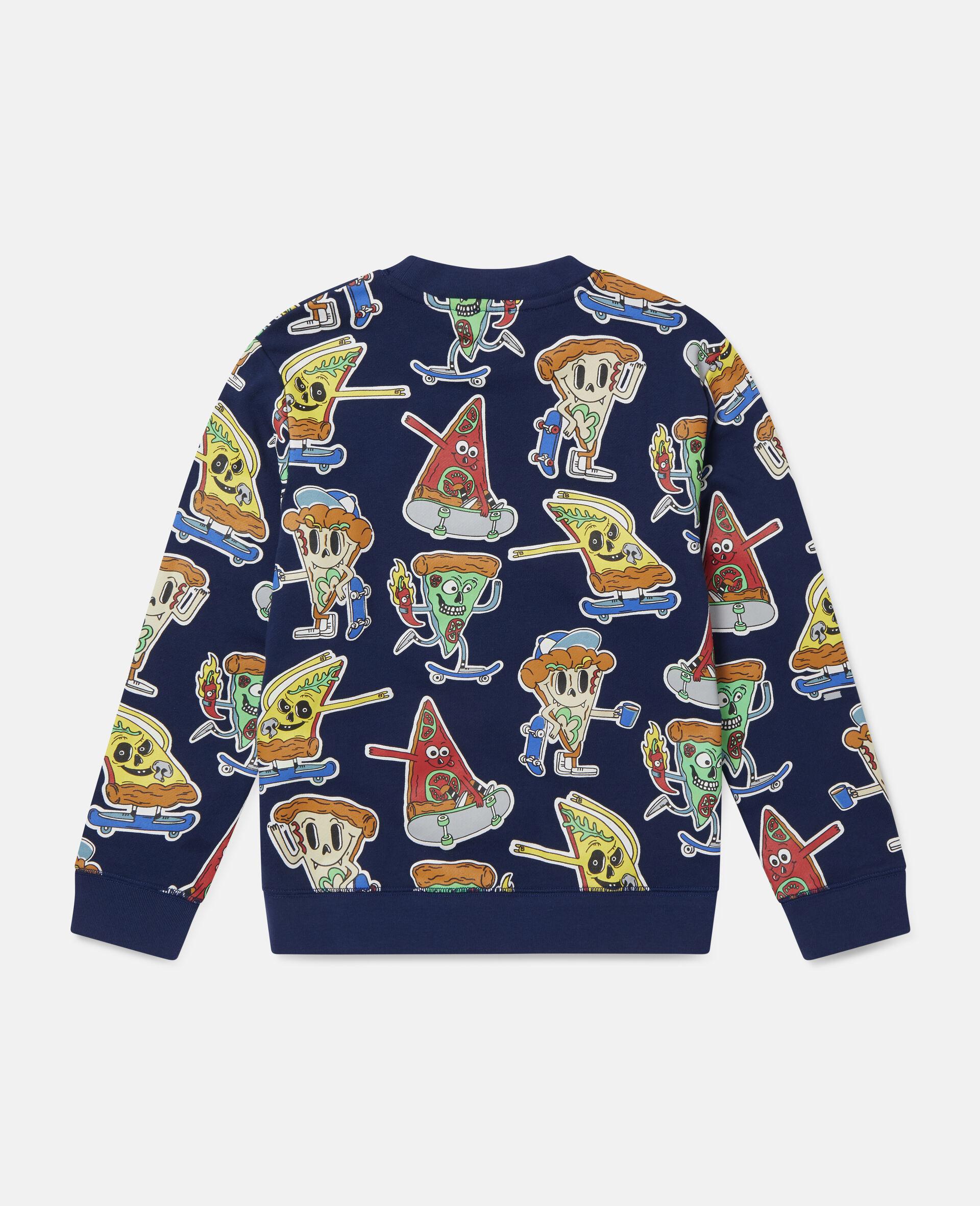 Fleece-Sweatshirt mit Pizza-Skater-Motiv-Blau-large image number 3