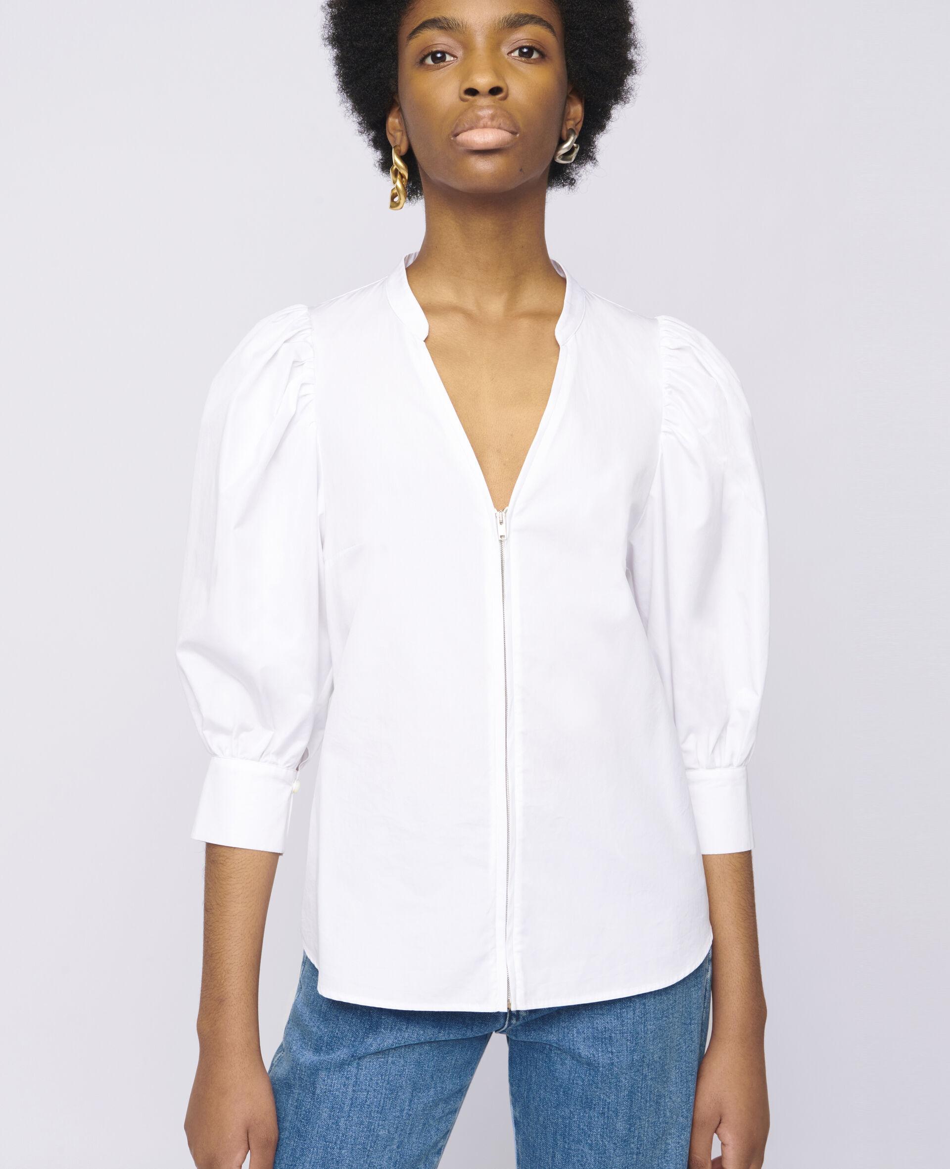 Rose Cotton Shirt-White-large image number 3
