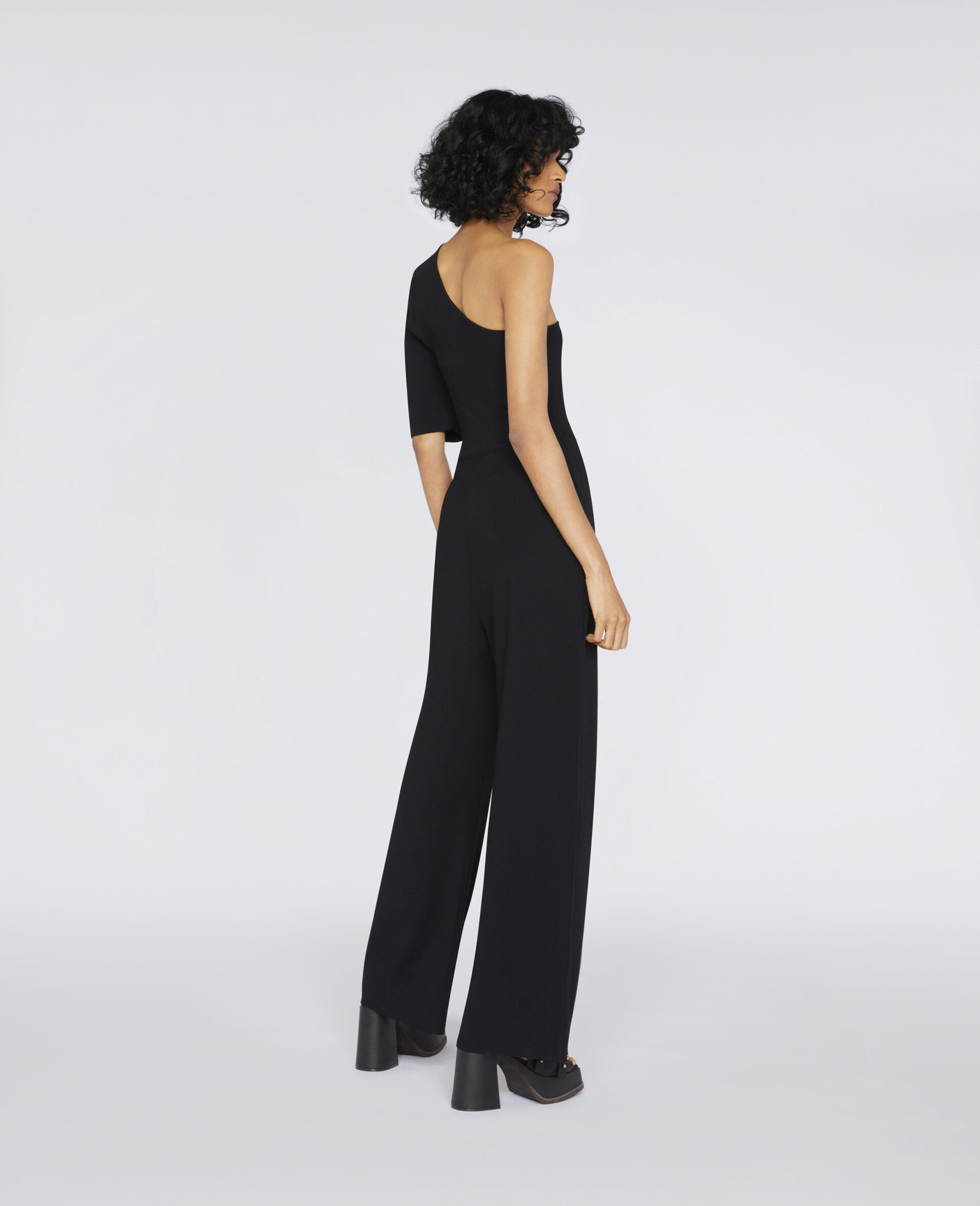 Compact Knit Jumpsuit-Black-large image number 2