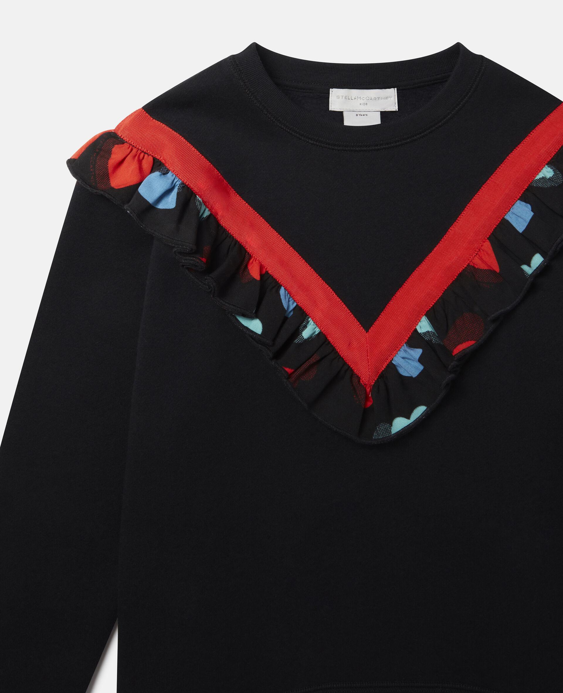 Frilled Fleece Sweatshirt -Black-large image number 1