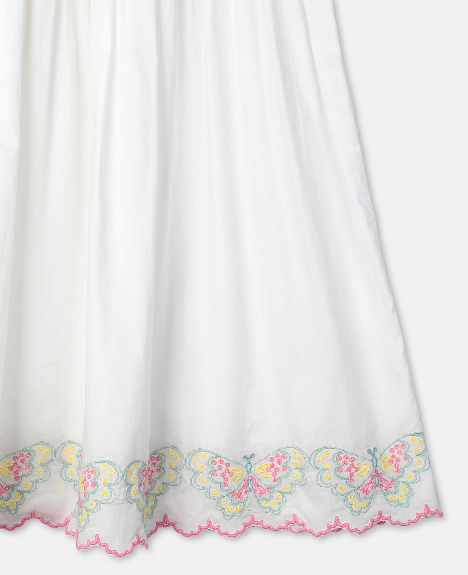 Butterfly刺绣棉质连衣裙-白色-large image number 1