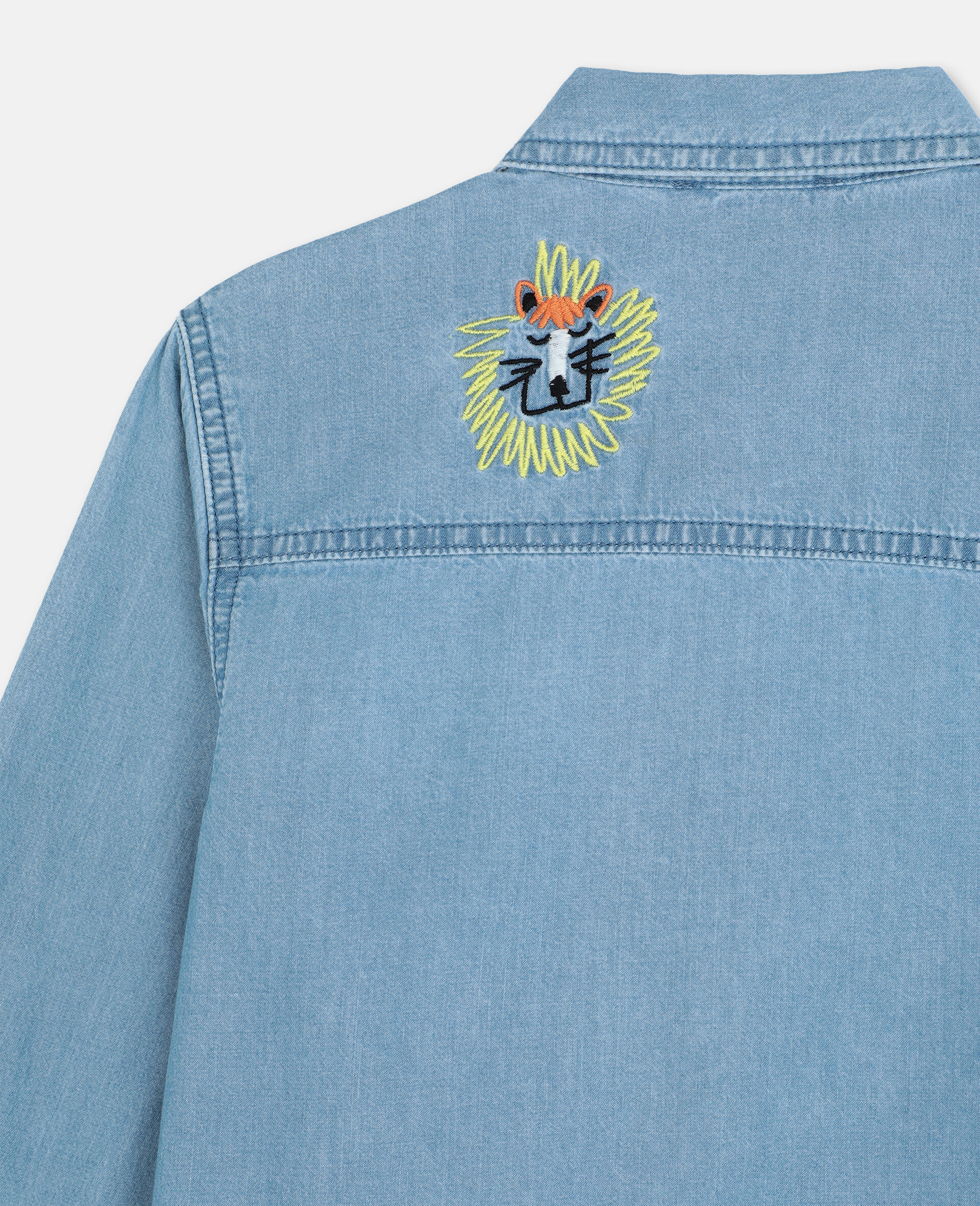 Embroidered Cats Cotton Chambray Shirt -Blue-large image number 2