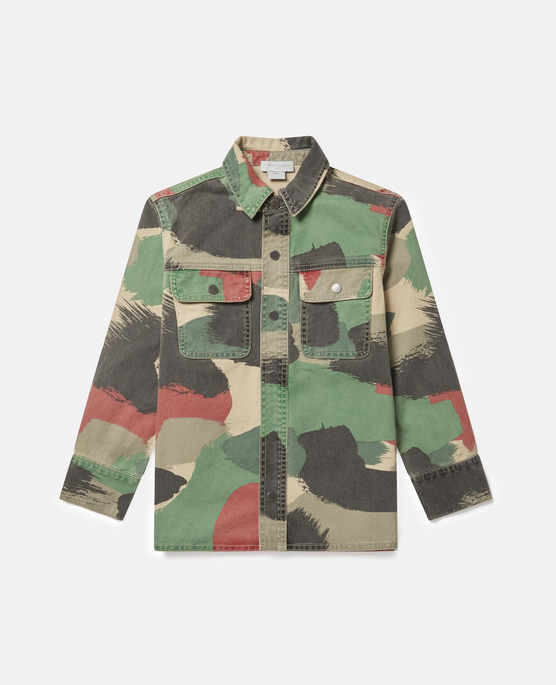 Übergroßes Denim-Hemd mit Camouflage-Print-Bunt-large image number 0