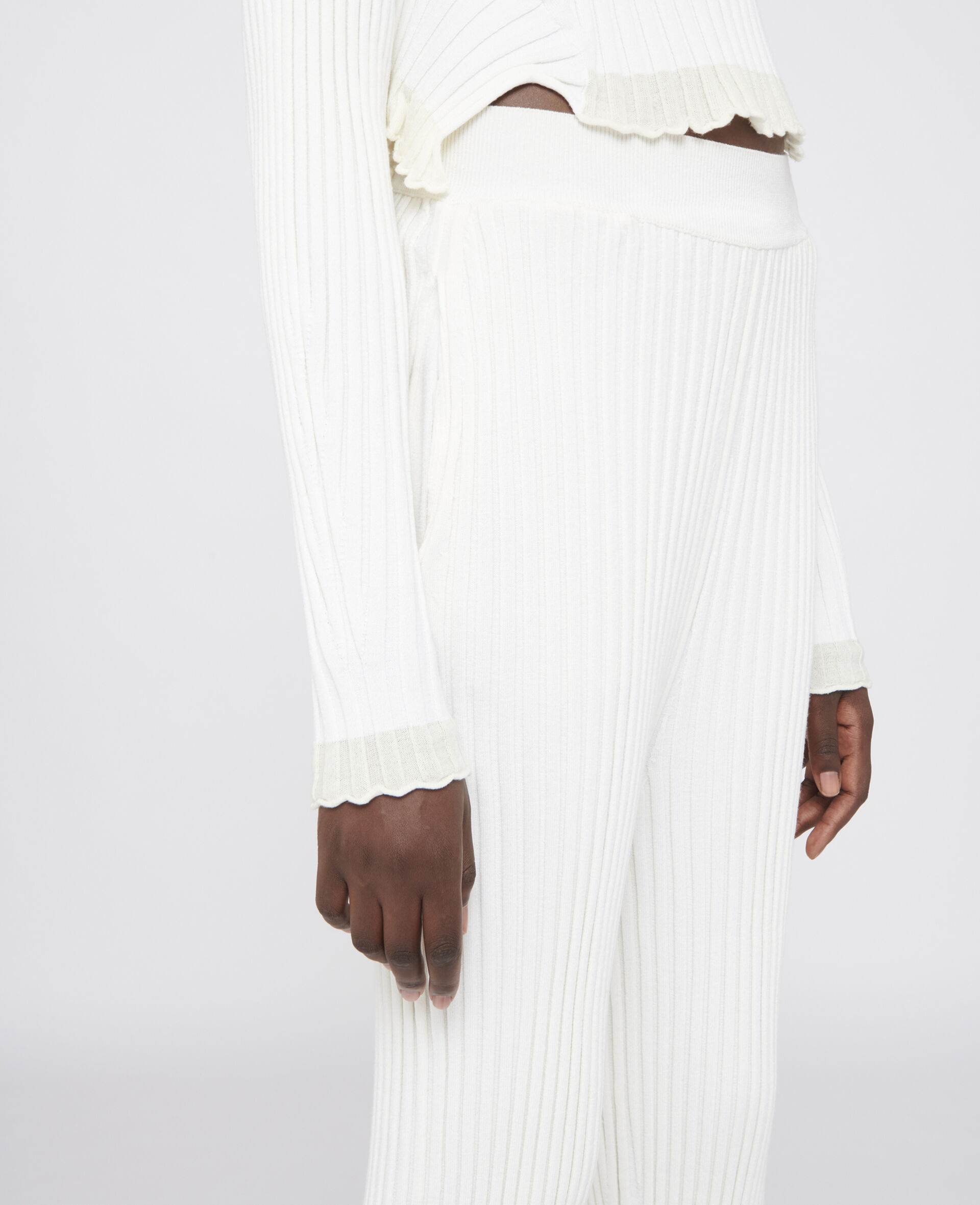 罗纹针织裤装-白色-large image number 3