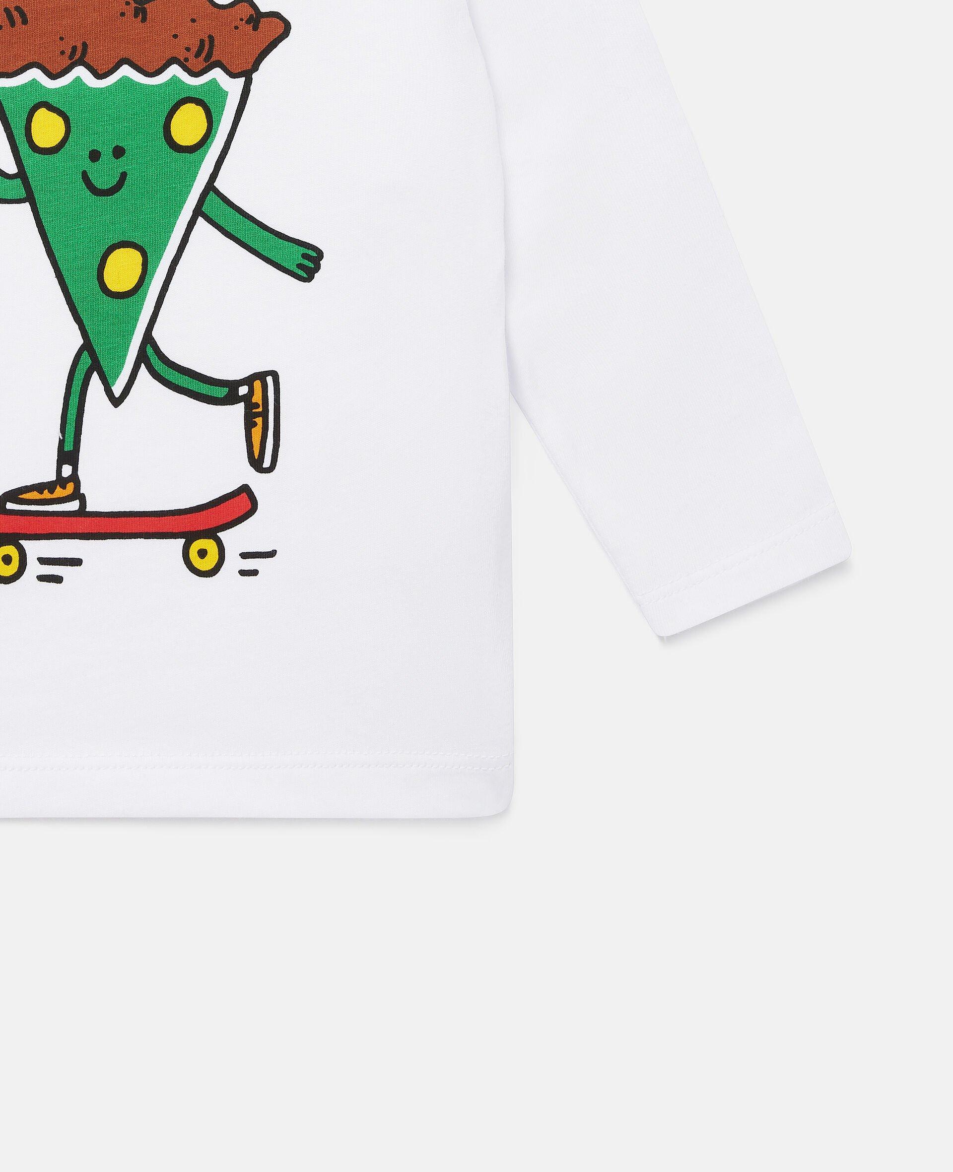 披萨滑板运动员印花平纹针织T恤-白色-large image number 2