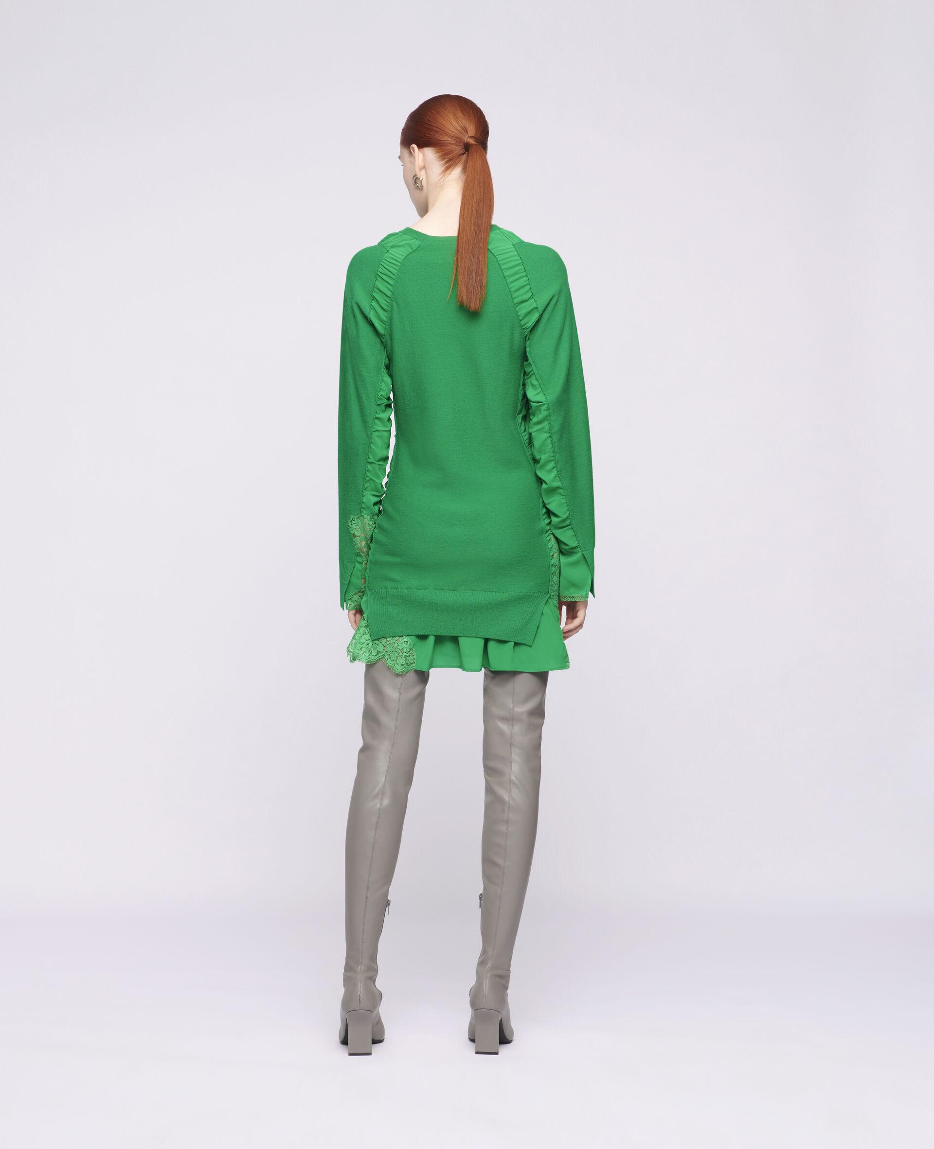 Silk Knit Mini Dress-Green-large image number 2