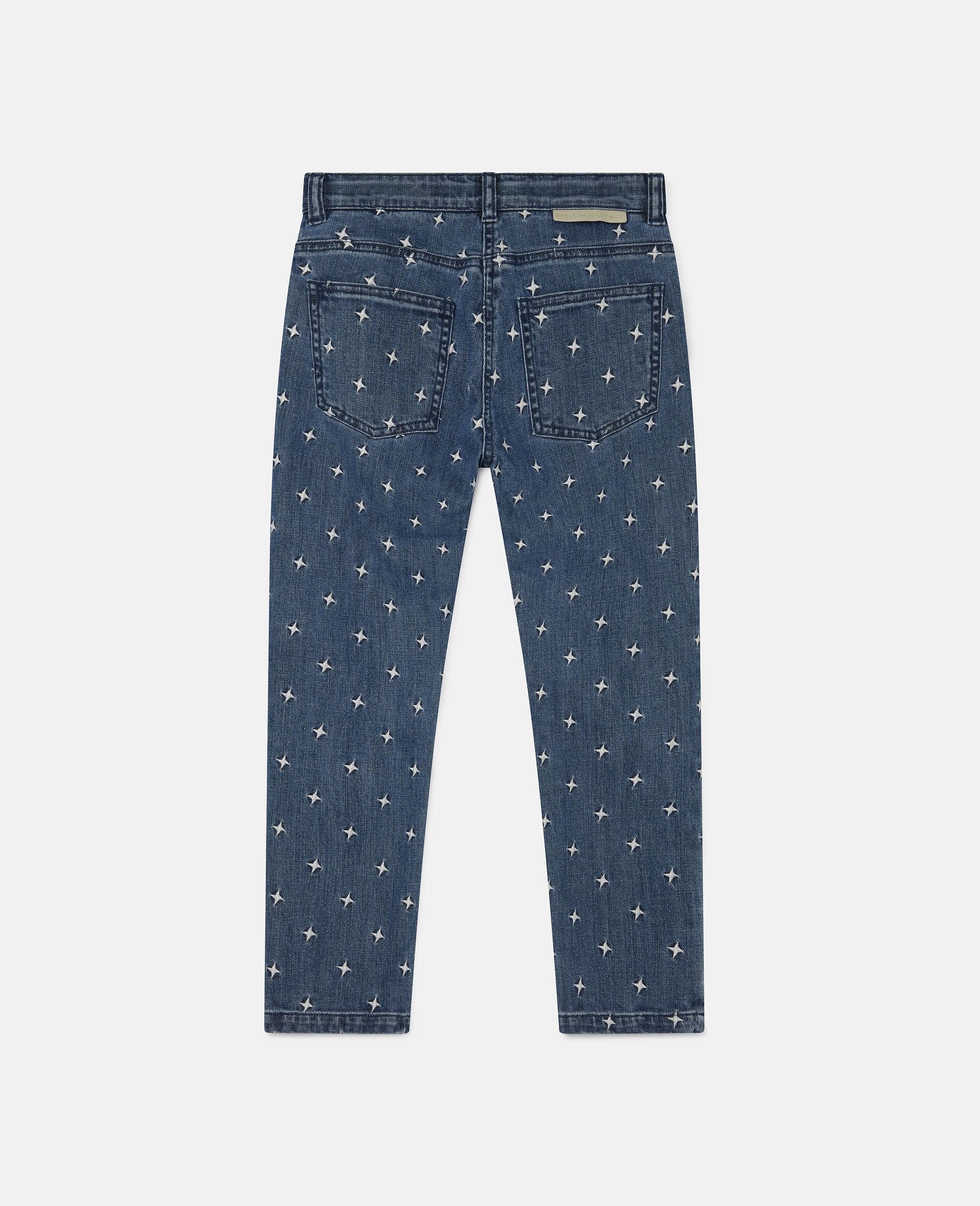Pantalon en denim à étoiles brodées-Bleu-large image number 1