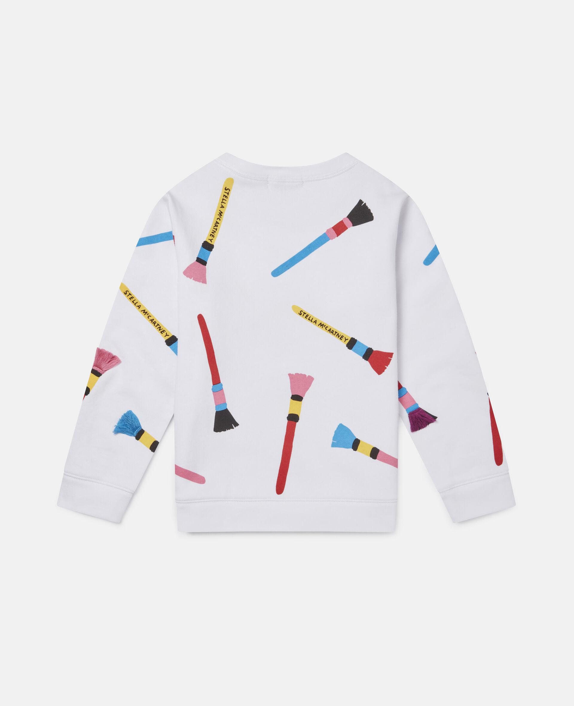 Sweatshirt aus Baumwollfleece mit Pinsel-Print -Weiß-large image number 3