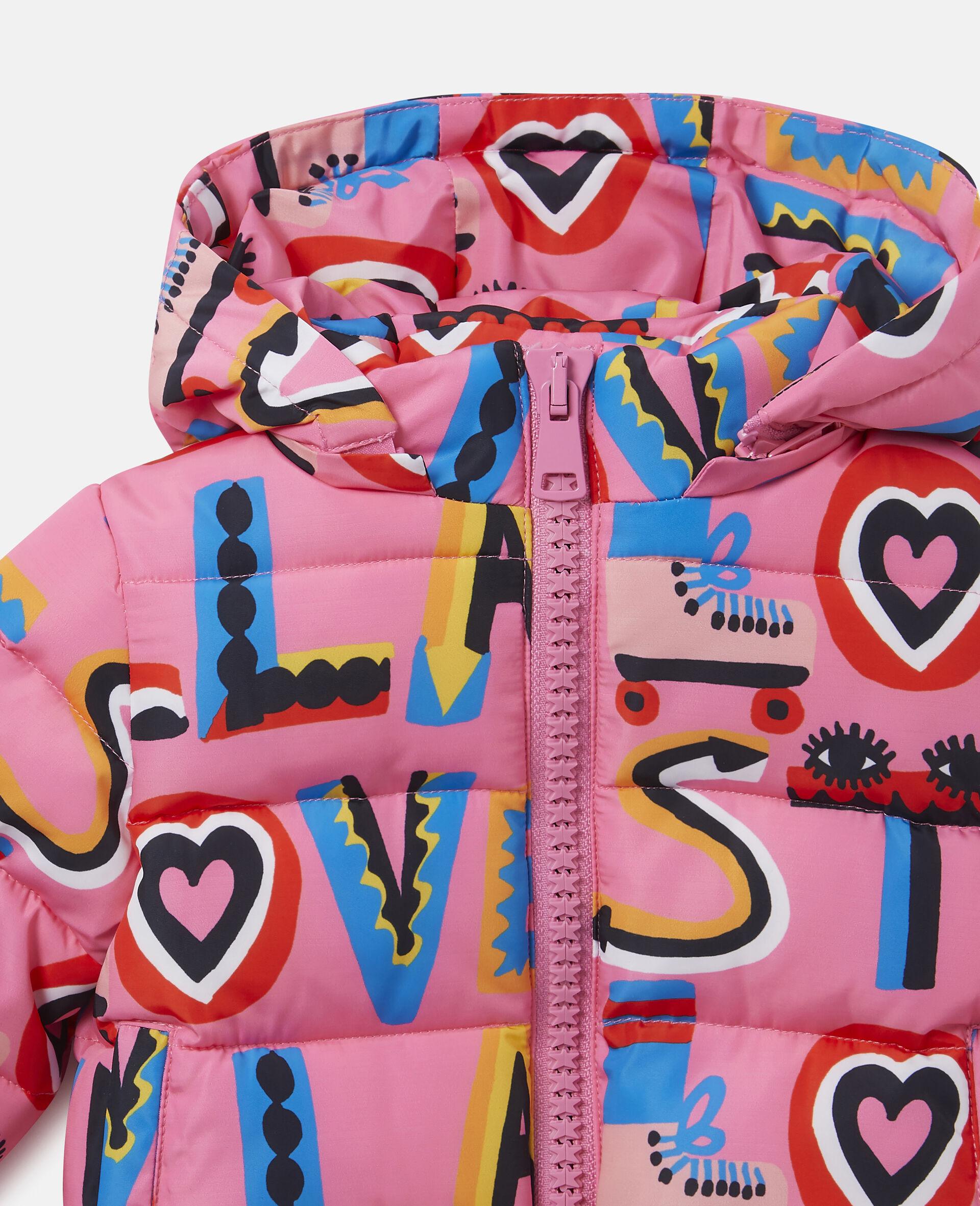 Stella Loves Hooded Puffer Jacket-Pink-large image number 1