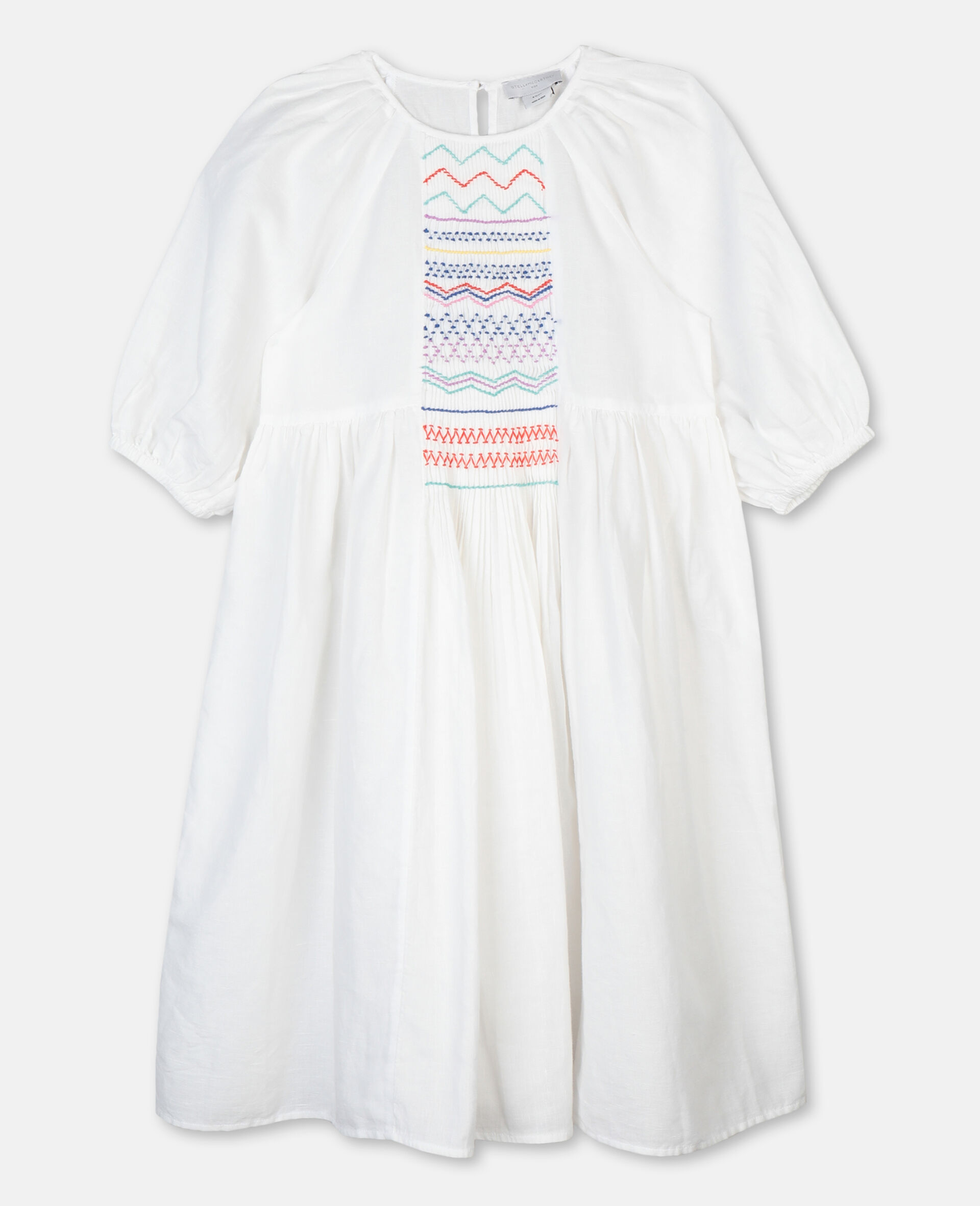 Kleid mit gerafften Details-Weiß-large image number 0