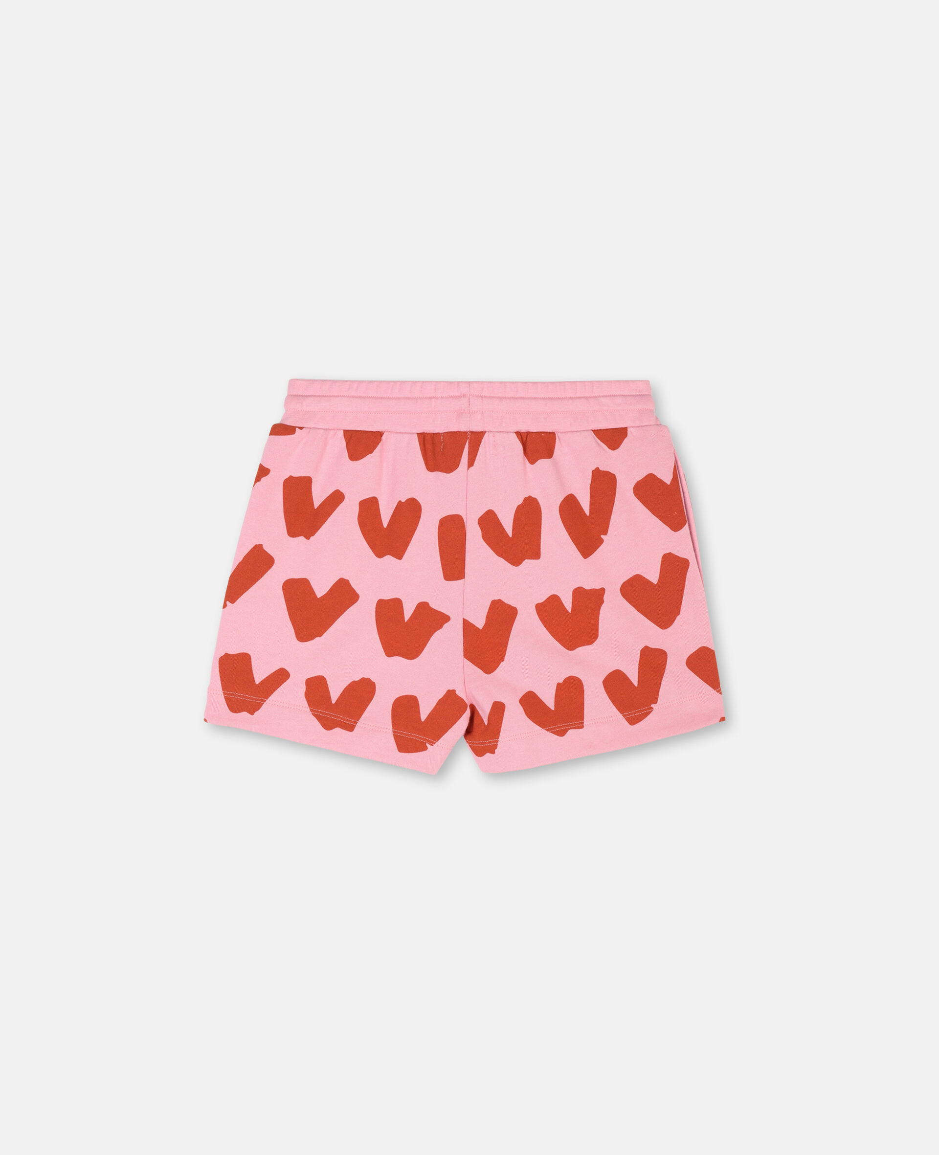 Hearts Cotton Fleece Shorts-Pink-large image number 3