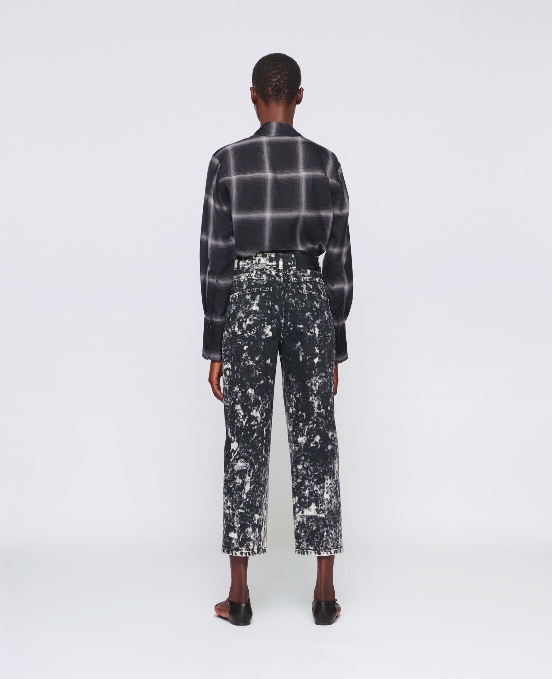 Cropped Denim Trousers-Black-large image number 2